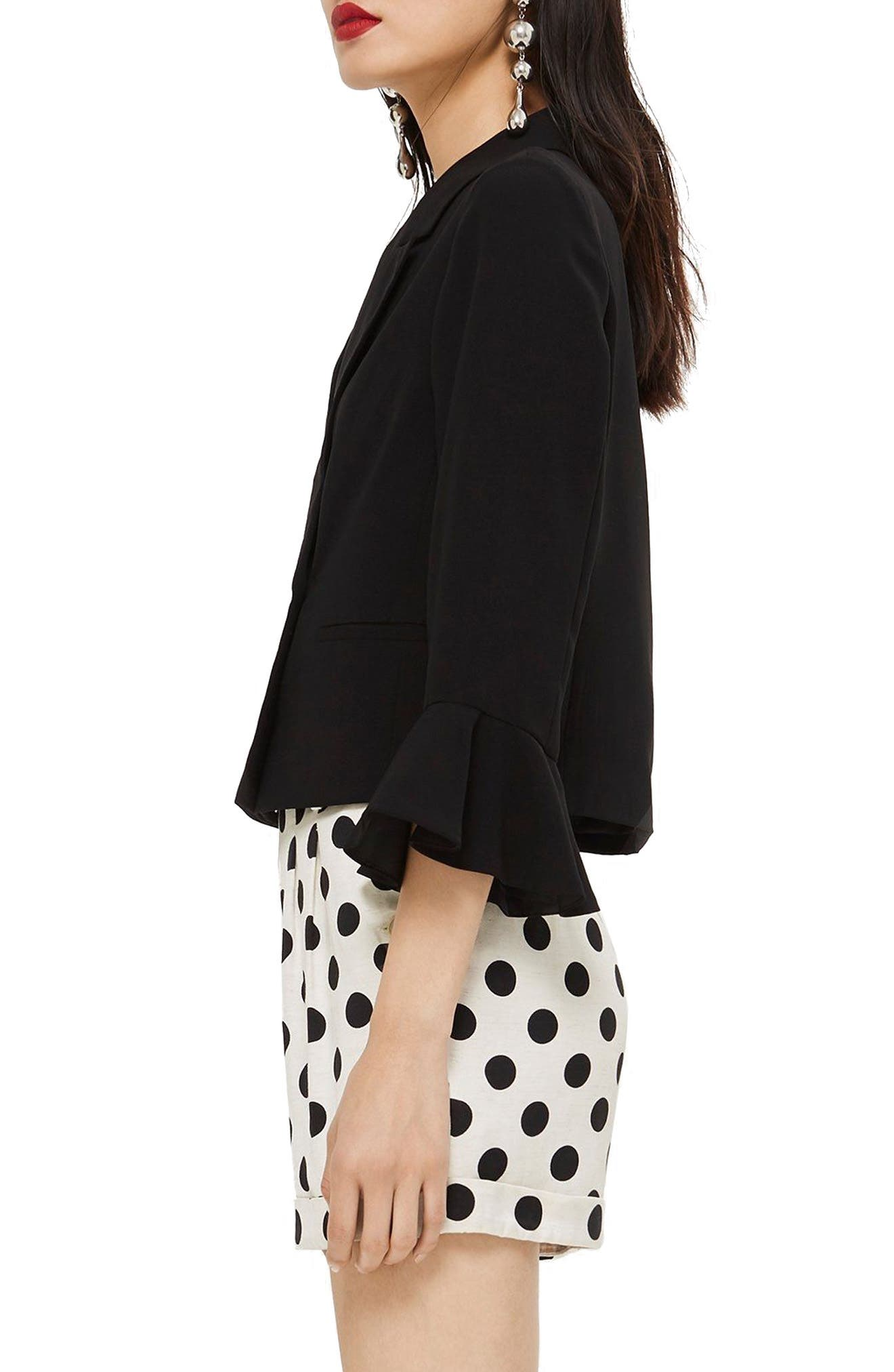 Frill Sleeve Double Breasted Jacket,                             Alternate thumbnail 3, color,                             BLACK