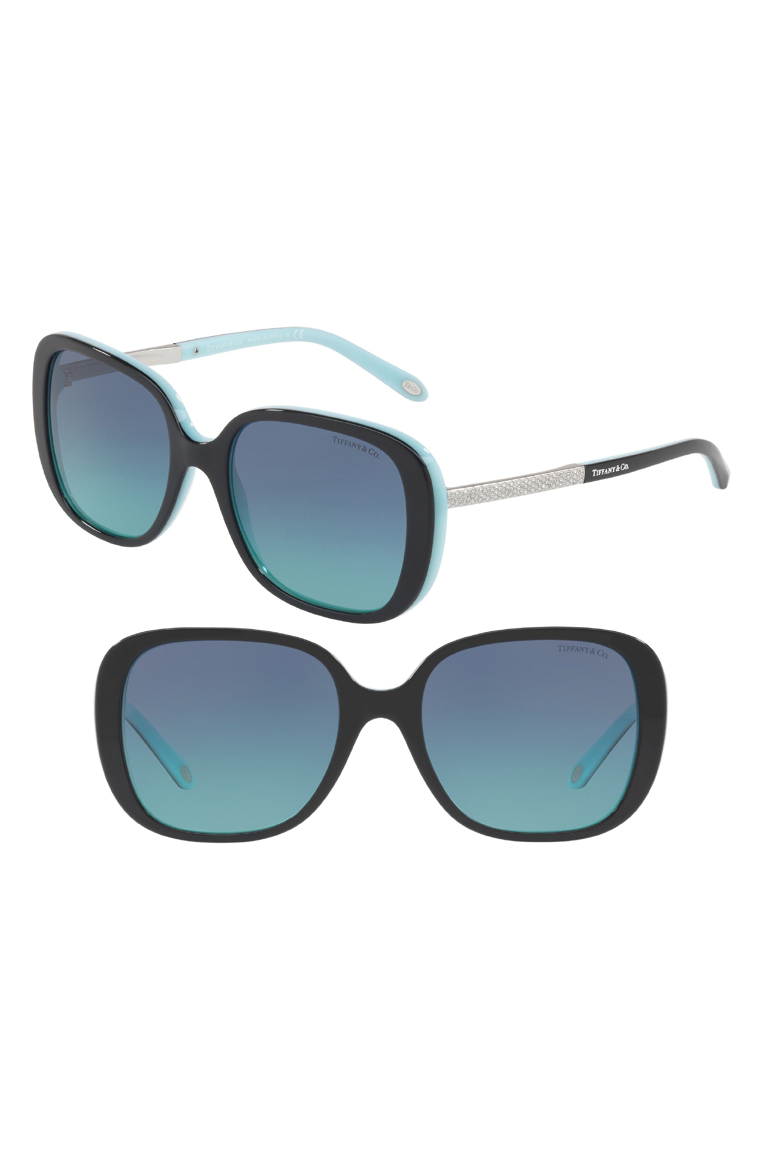 54mm Gradient Sunglasses,                         Main,                         color, BLACK/ BLUE