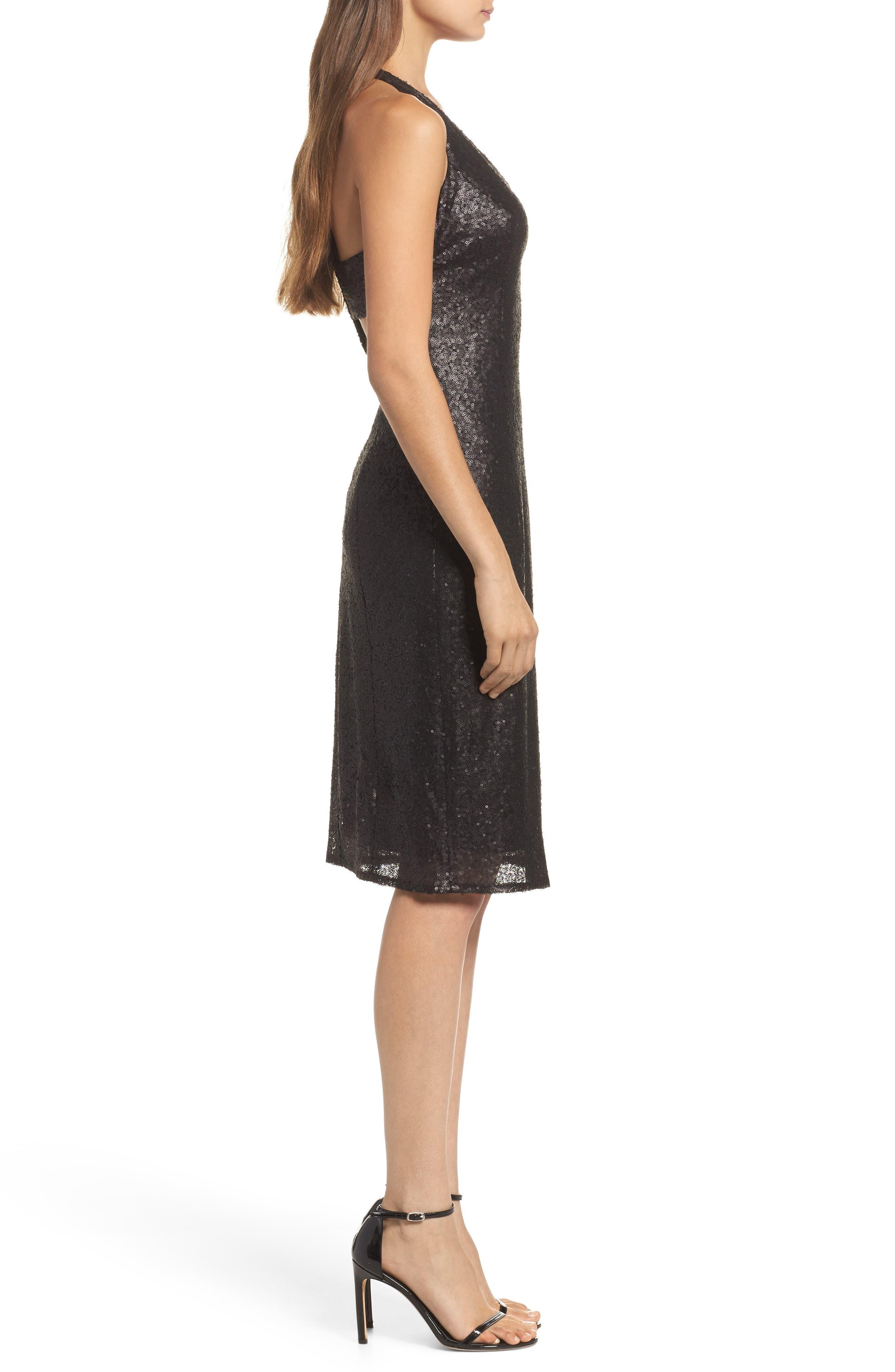 Alo Sequin Halter Dress,                             Alternate thumbnail 3, color,                             001