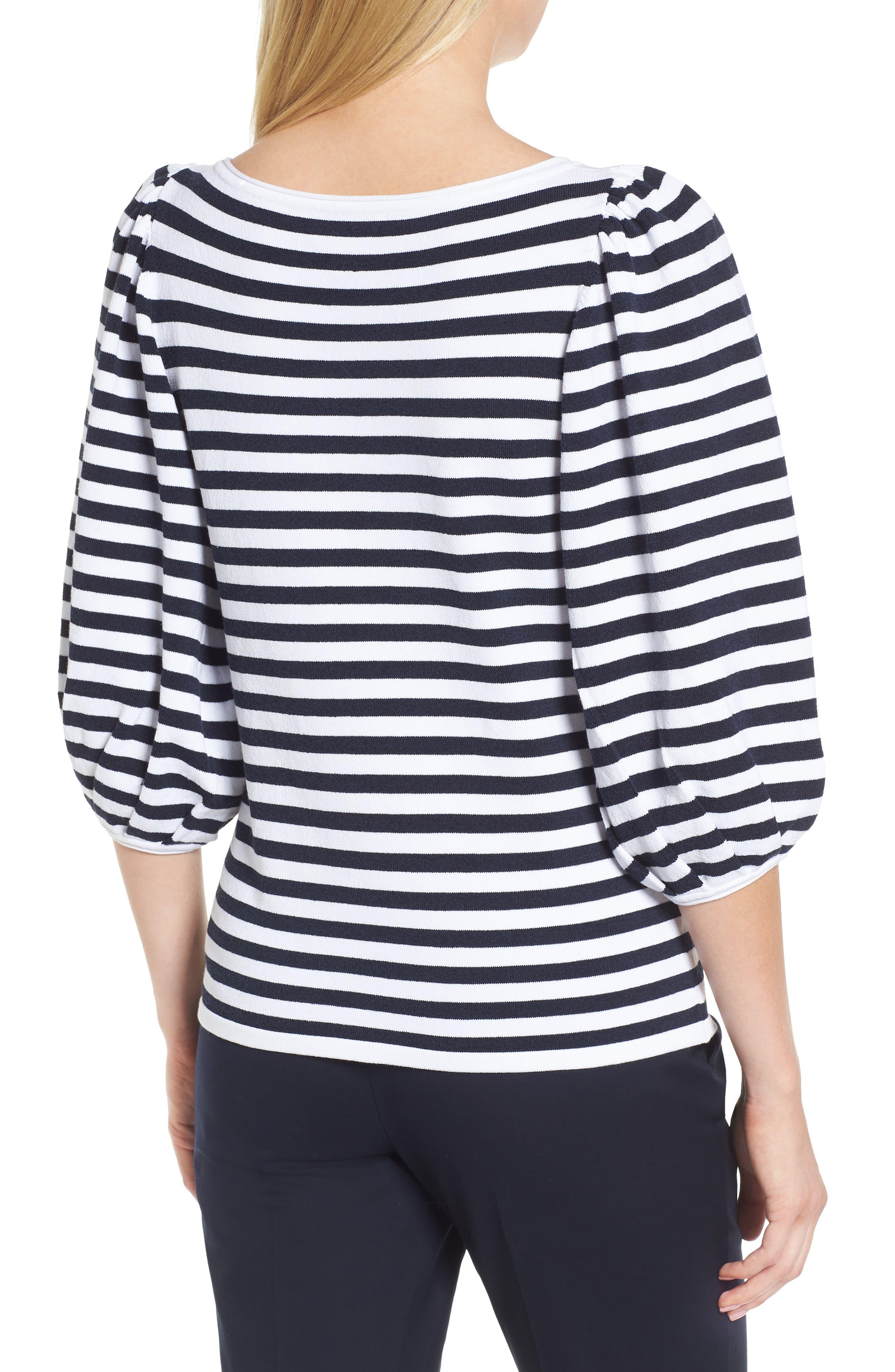 Blouson Sleeve Stripe Sweater,                             Alternate thumbnail 2, color,