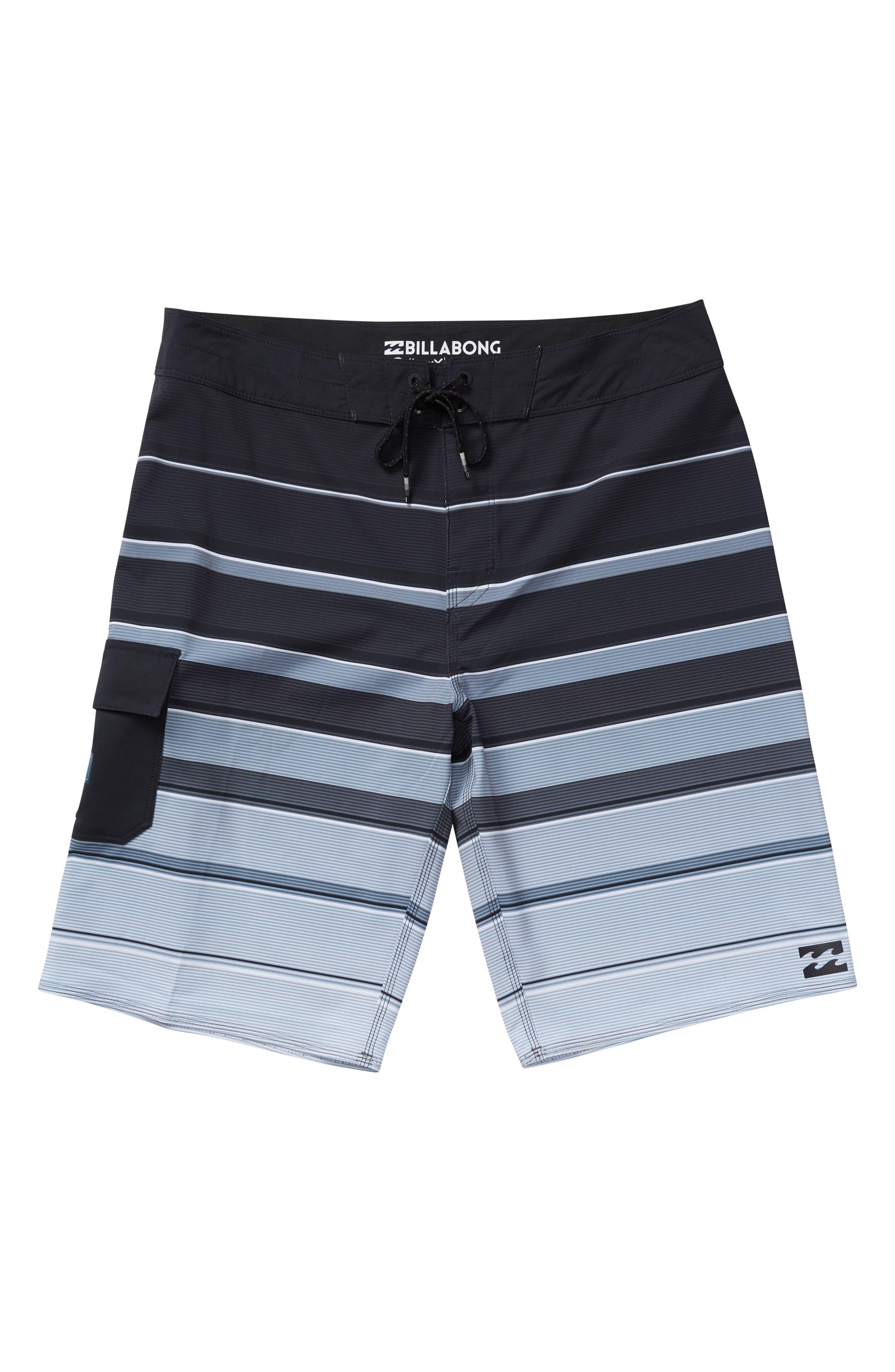 All Day X Stripe Board Shorts,                         Main,                         color, BLACK
