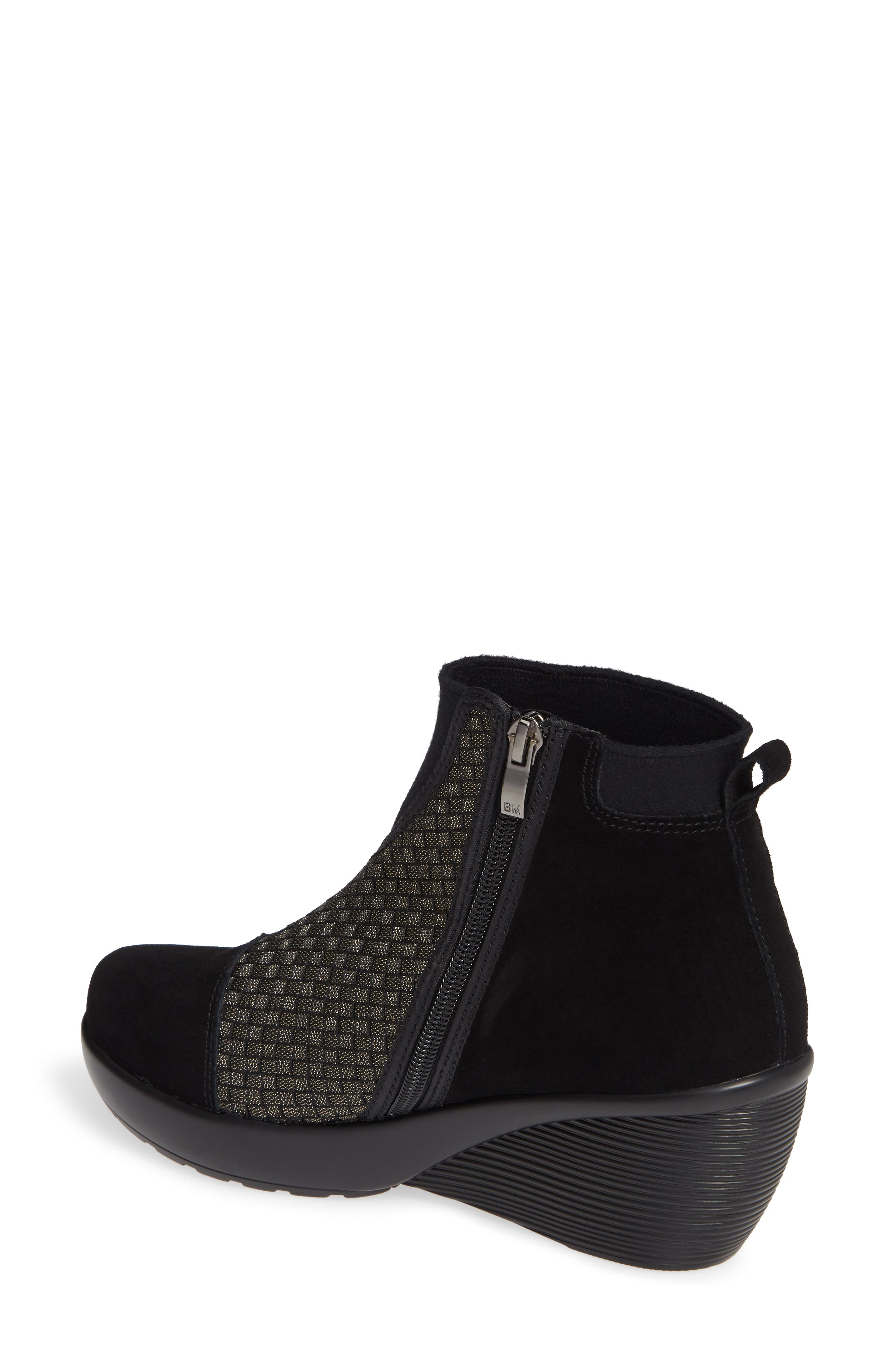 Zoe Wedge Bootie,                             Alternate thumbnail 2, color,                             GOLD BLACK SHIMMER LEATHER