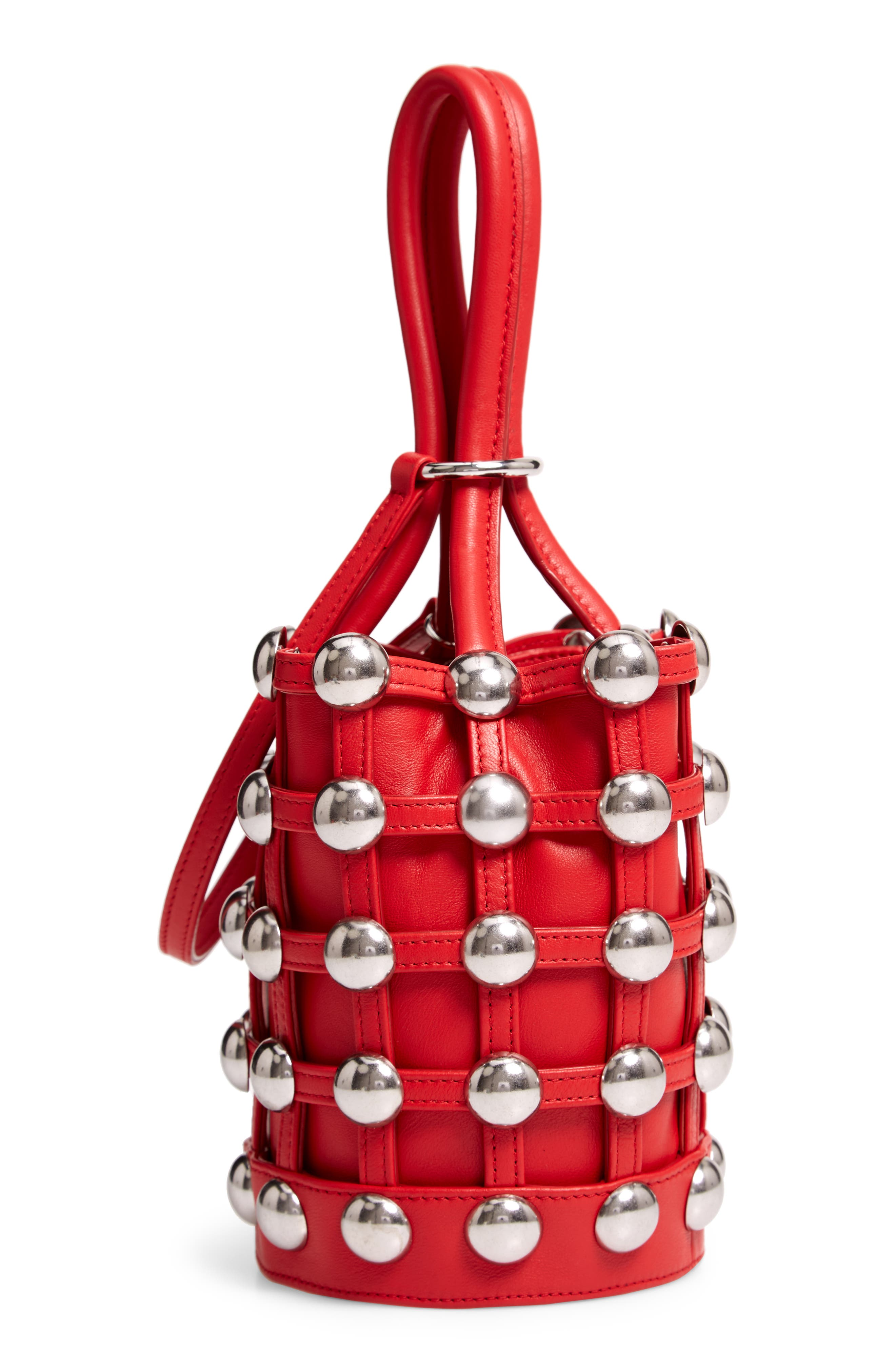 Mini Roxy Studded Cage Leather Bucket Bag,                             Alternate thumbnail 5, color,                             RED