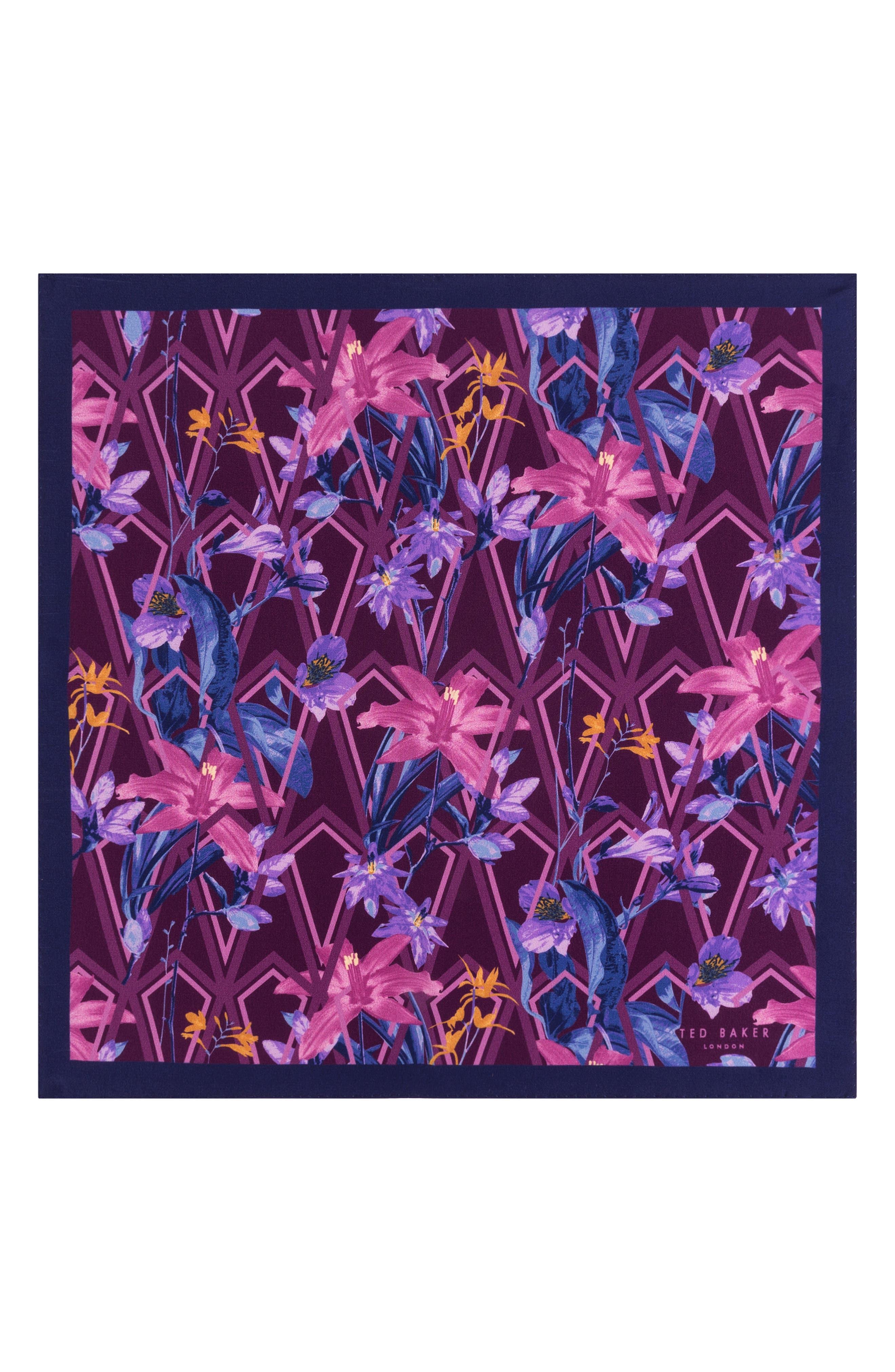 Floral Silk Pocket Square,                             Alternate thumbnail 2, color,                             PINK
