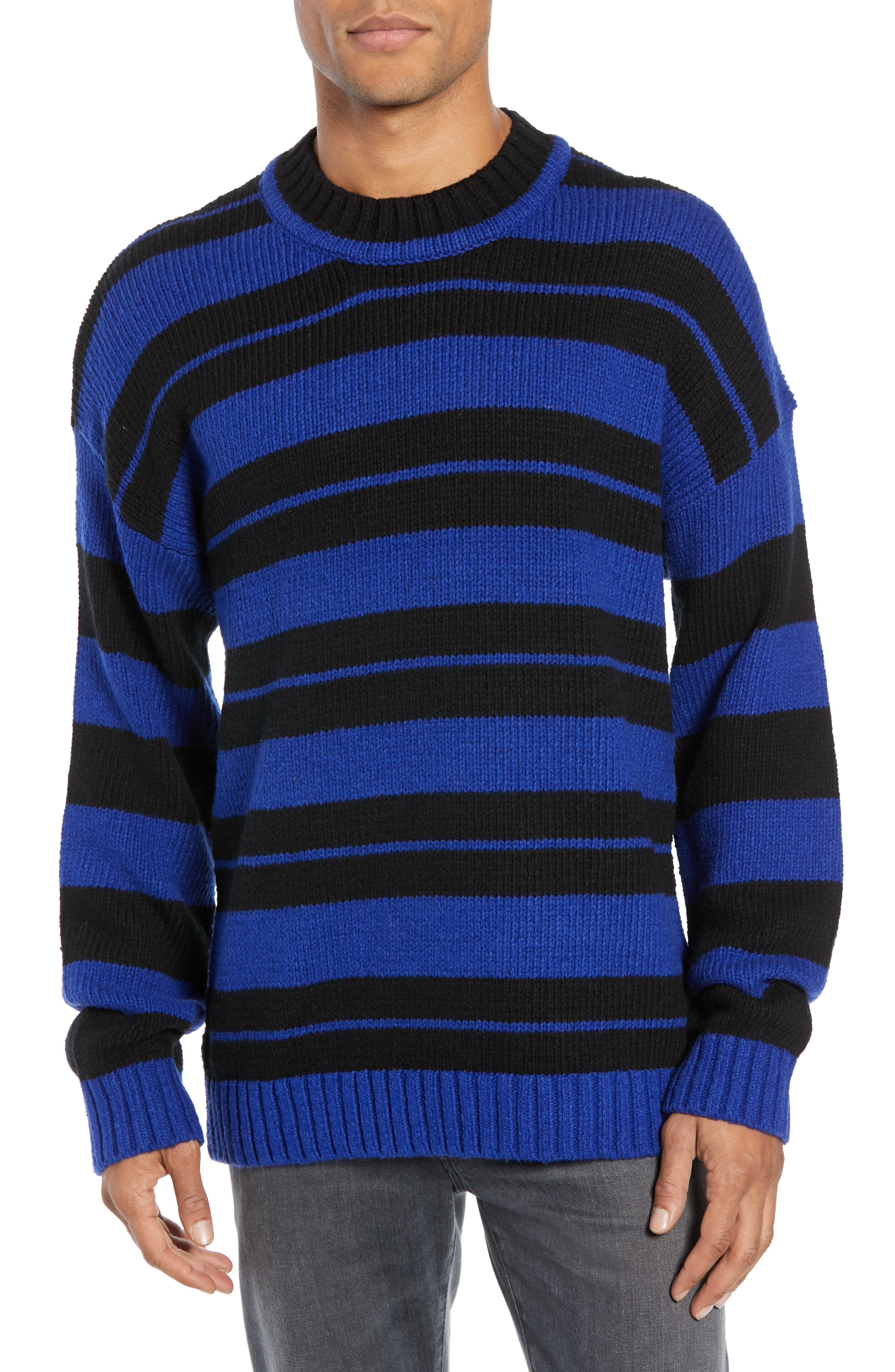 French Connection Regular Fit Varsity Stripe Sweater, Blue