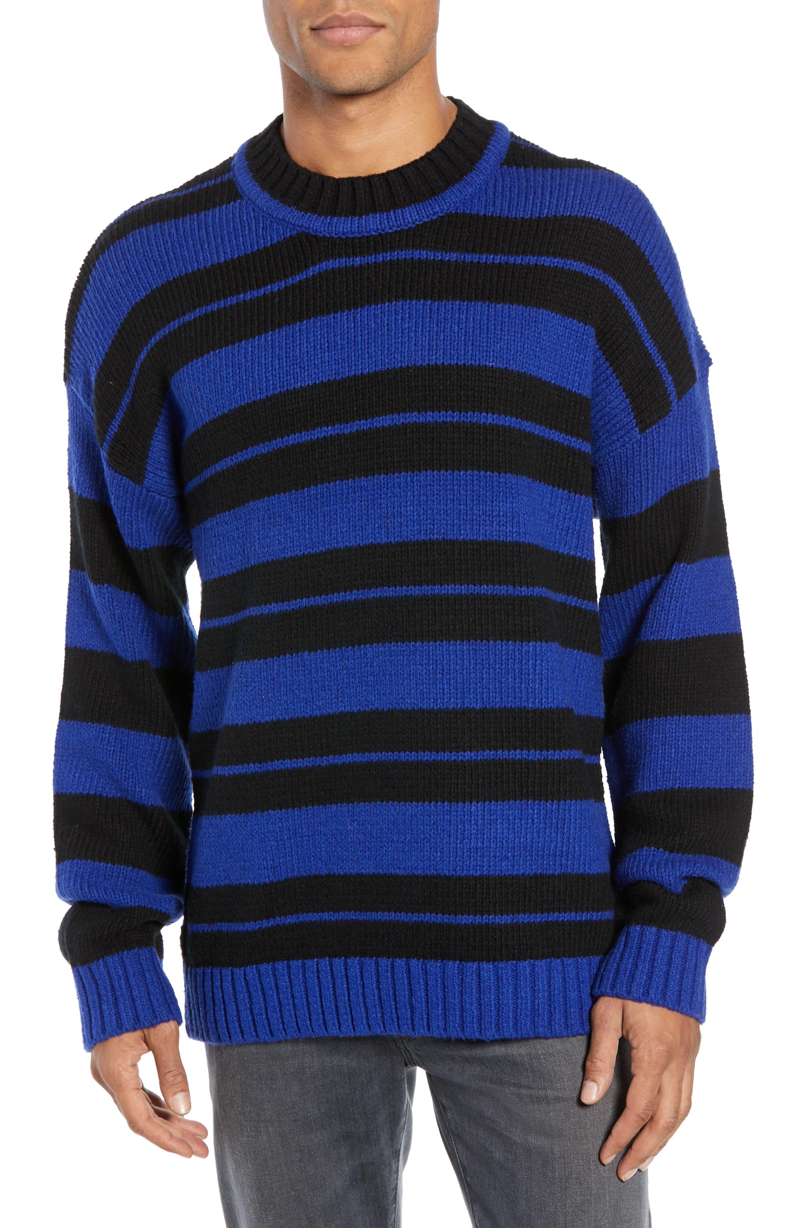 Regular Fit Varsity Stripe Sweater,                             Main thumbnail 1, color,                             FLURO BLUE BLACK