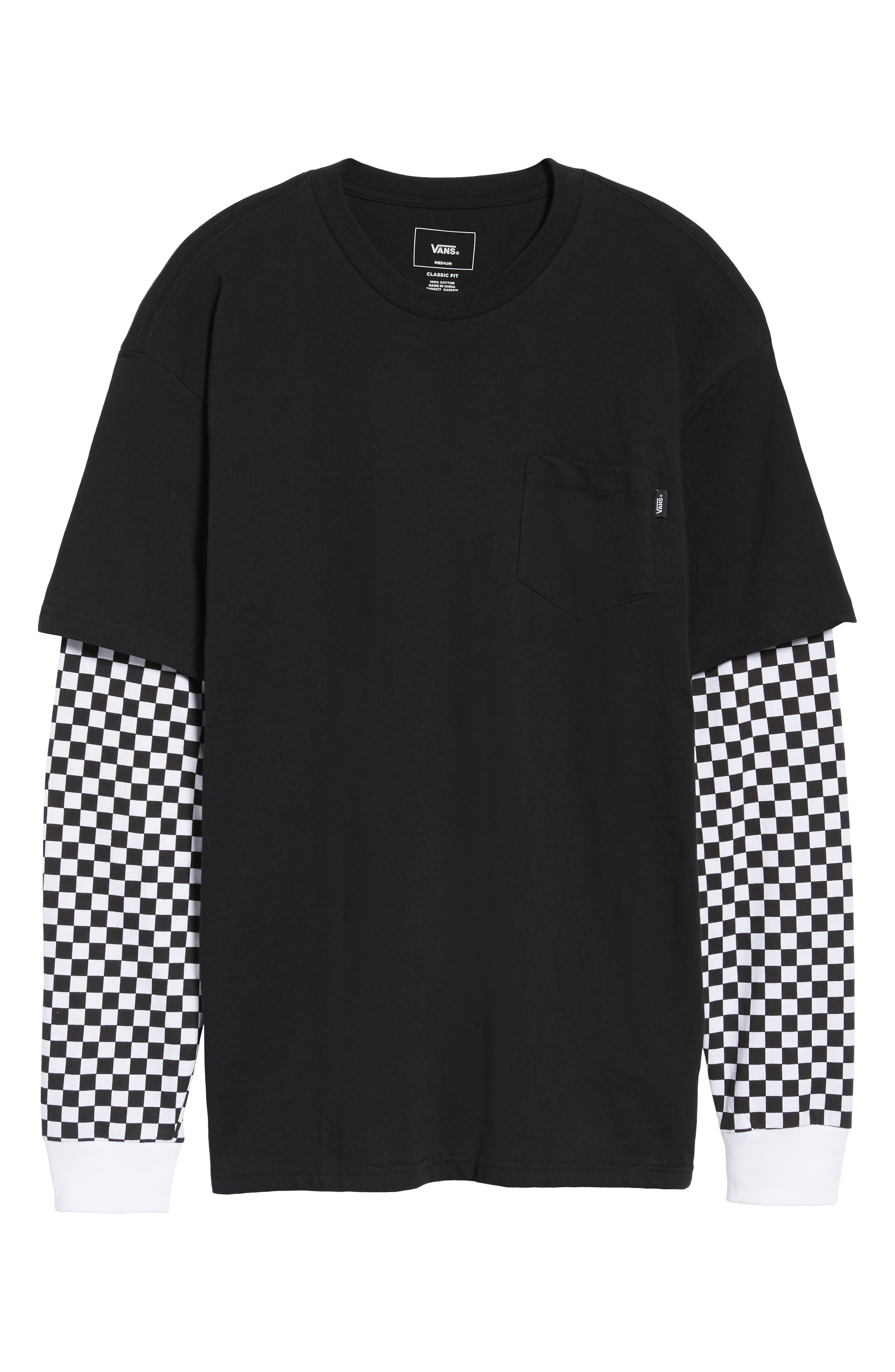 Checker Sleeve T-Shirt,                             Alternate thumbnail 6, color,                             001