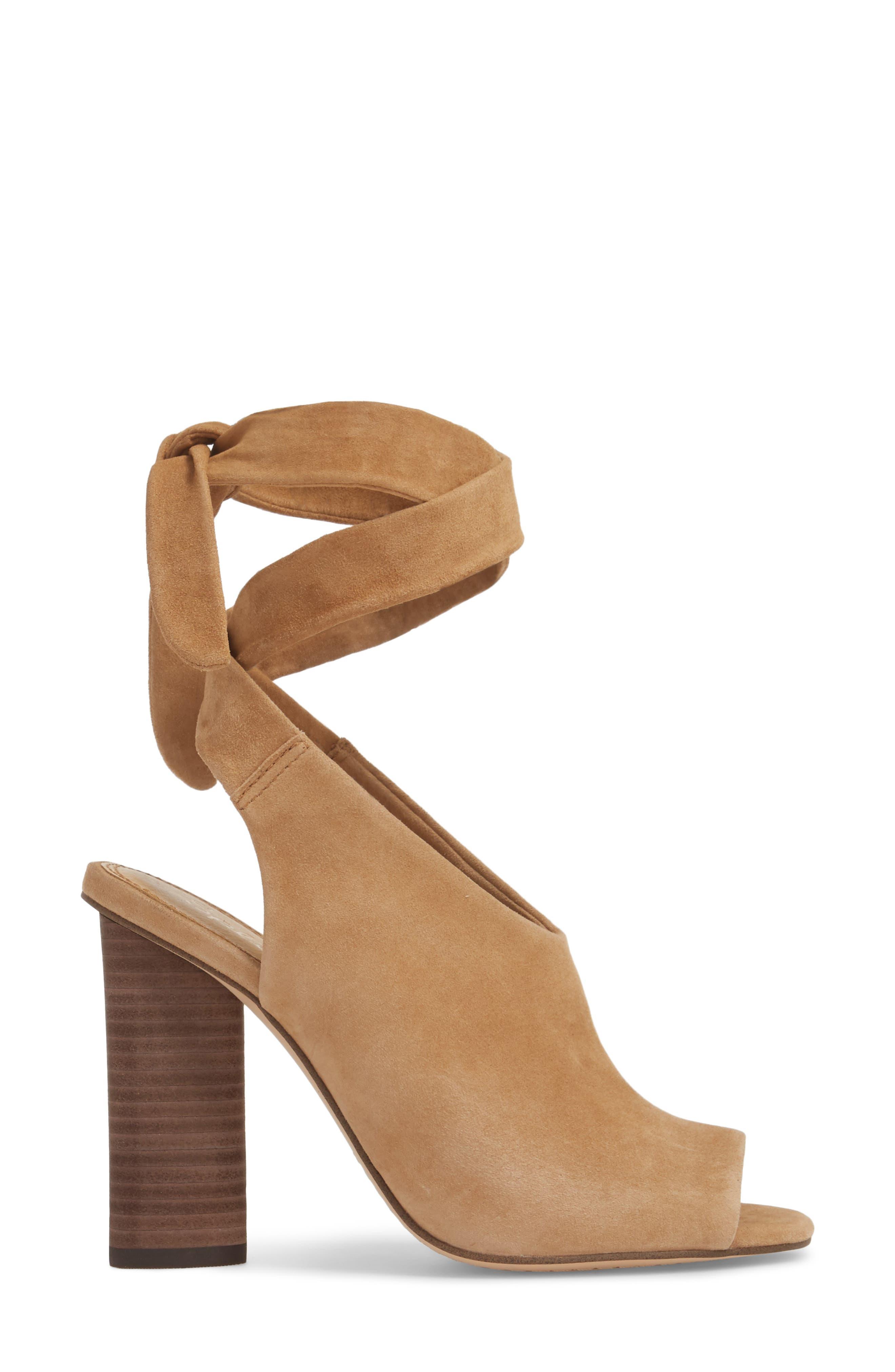 Navarro Ankle Wrap Sandal,                             Alternate thumbnail 3, color,                             LIGHT OAK SUEDE