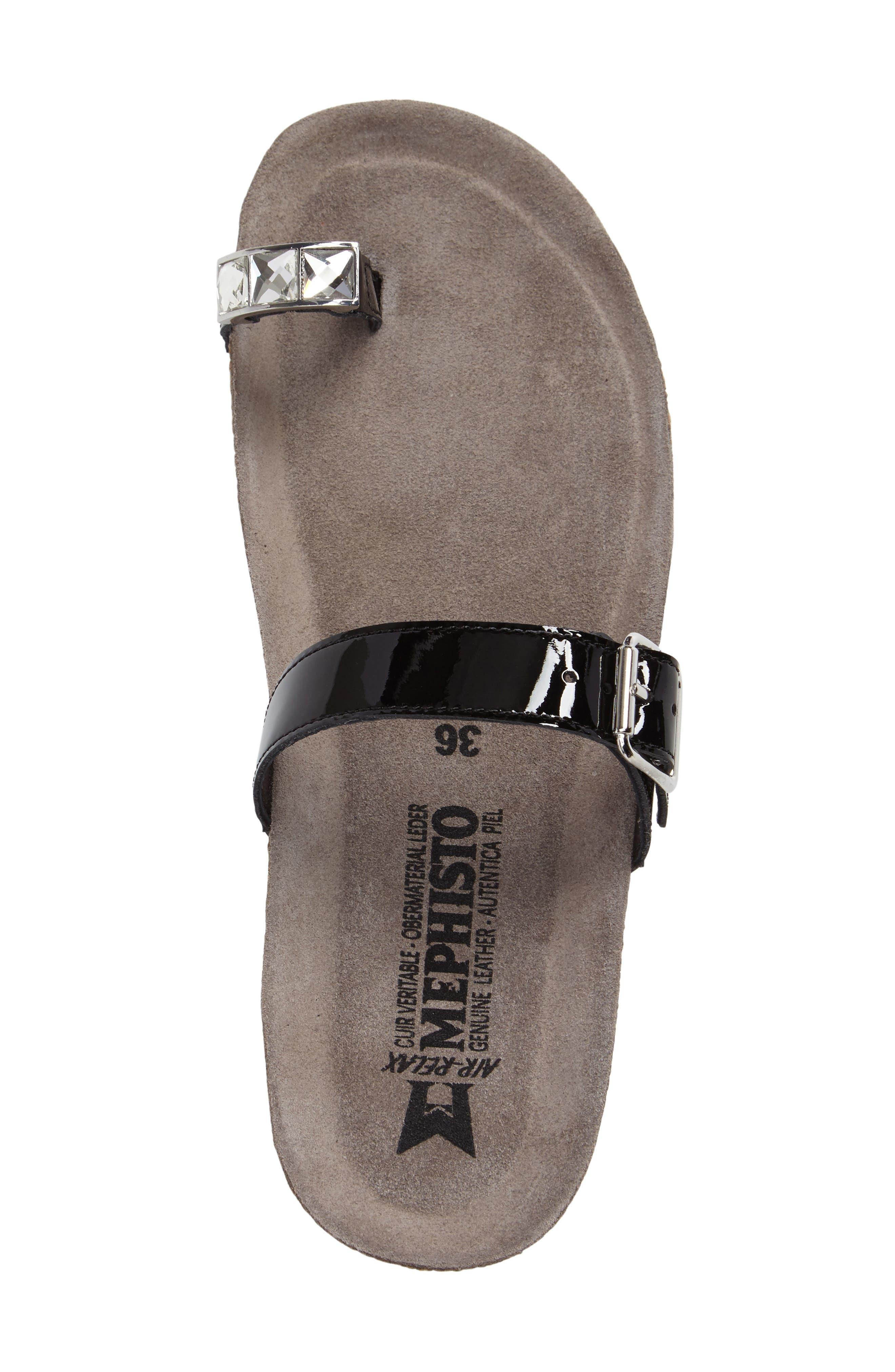 Ilaria Embellished Wedge Sandal,                             Alternate thumbnail 3, color,                             BLACK PATENT LEATHER