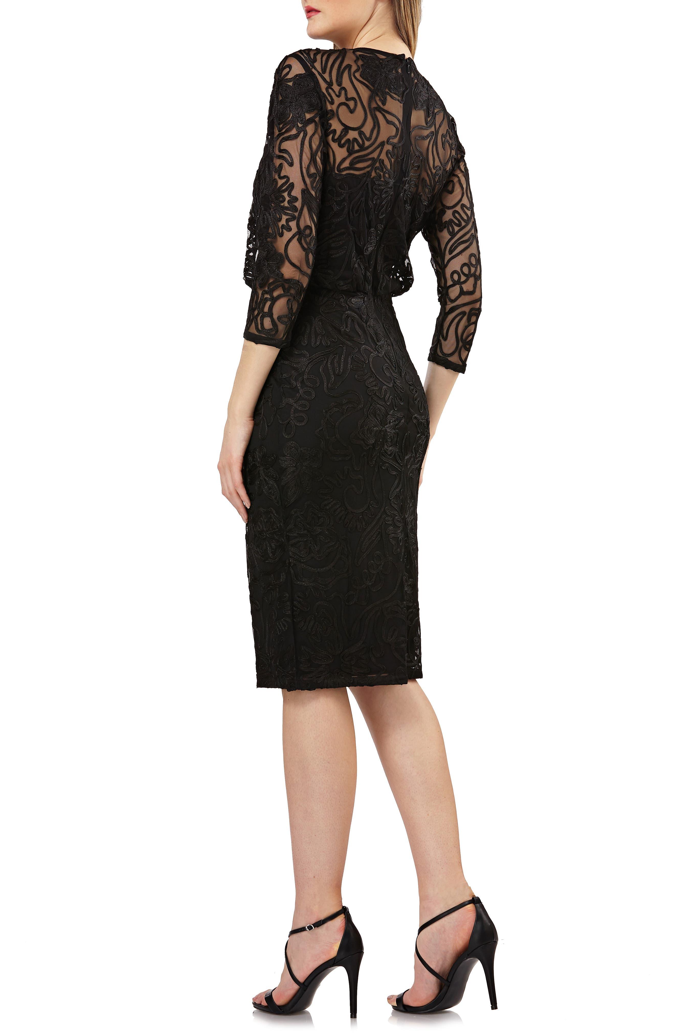 Soutache Embroidered Blouson Dress,                             Alternate thumbnail 2, color,                             BLACK