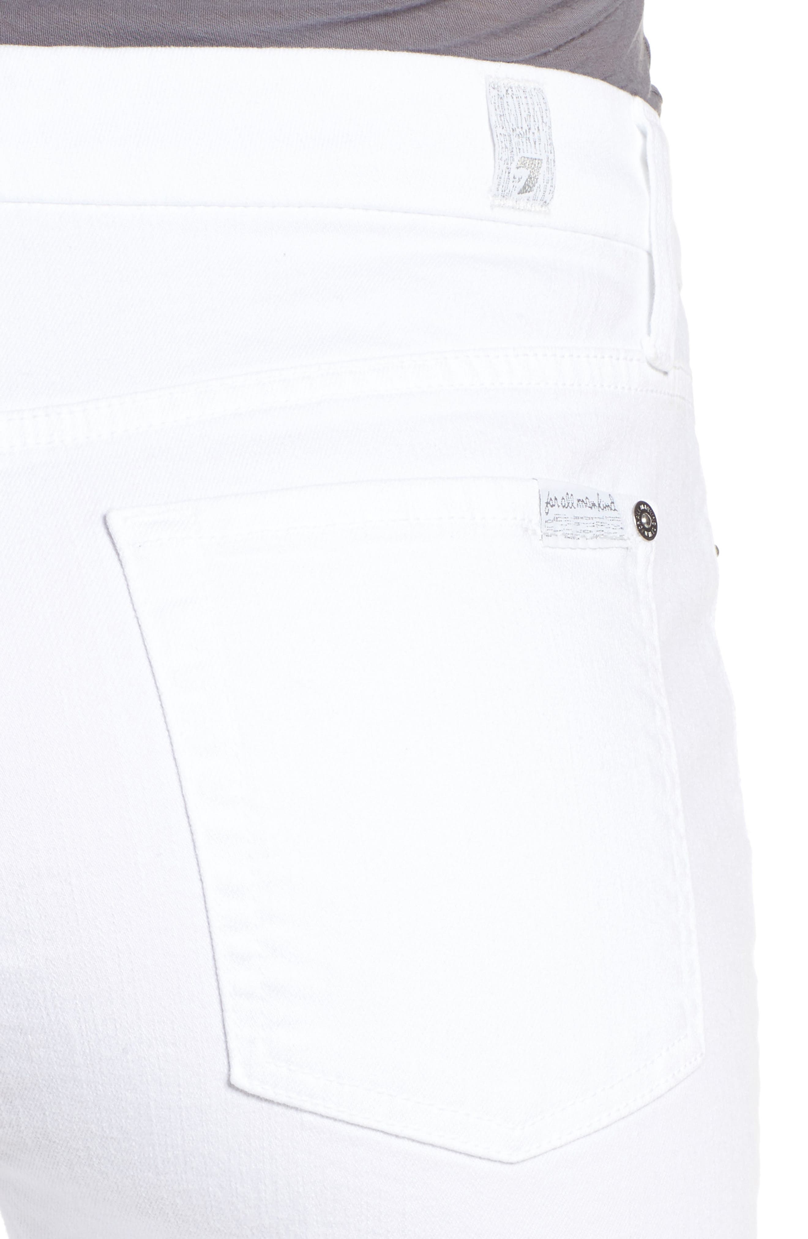 Raw Hem Skinny Jeans,                             Alternate thumbnail 4, color,                             CLEAN WHITE EXCLUSIVE