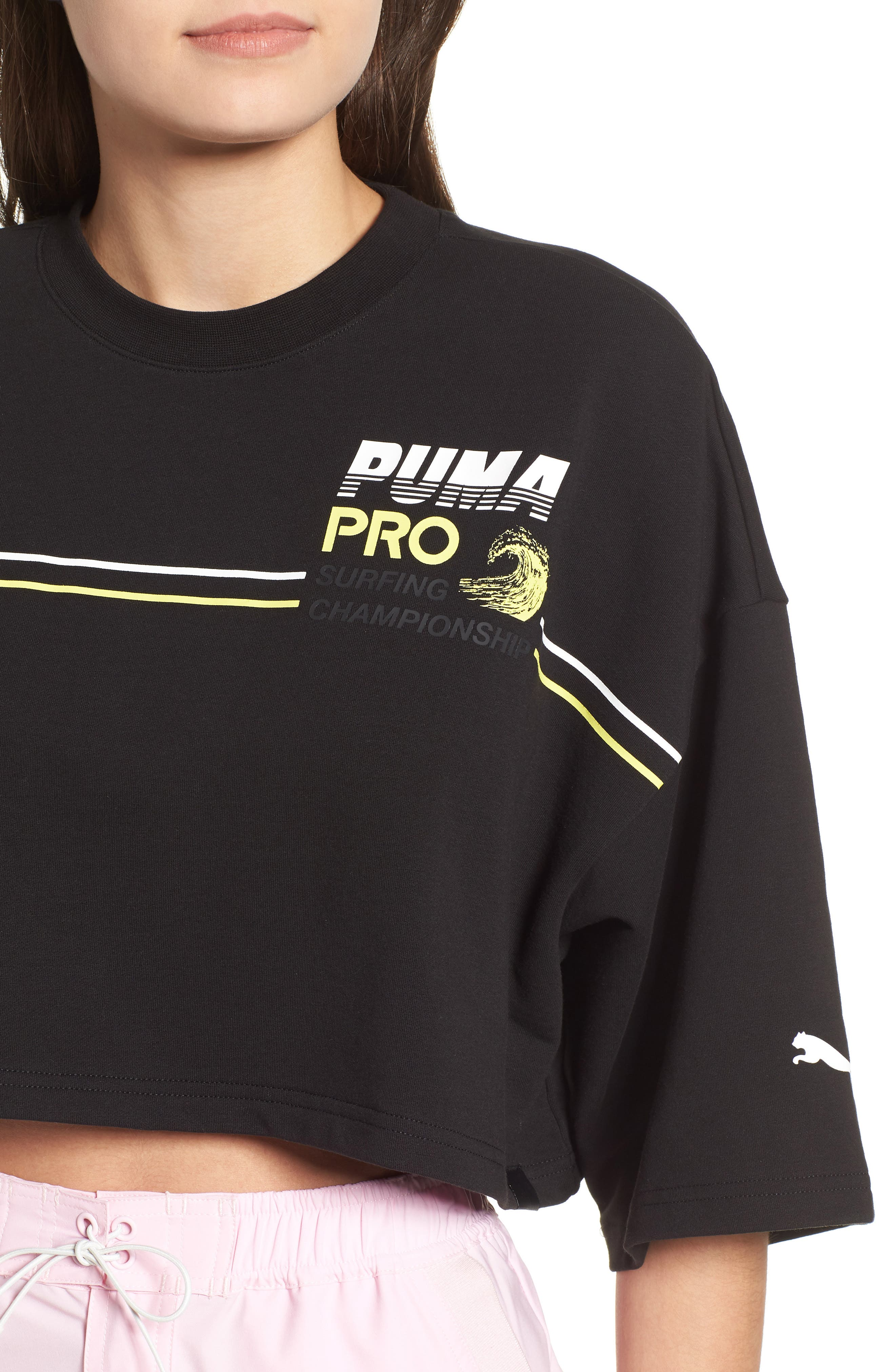 PUMA by Rihanna Graphic Short Sleeve Crop Sweatshirt,                             Alternate thumbnail 4, color,                             001
