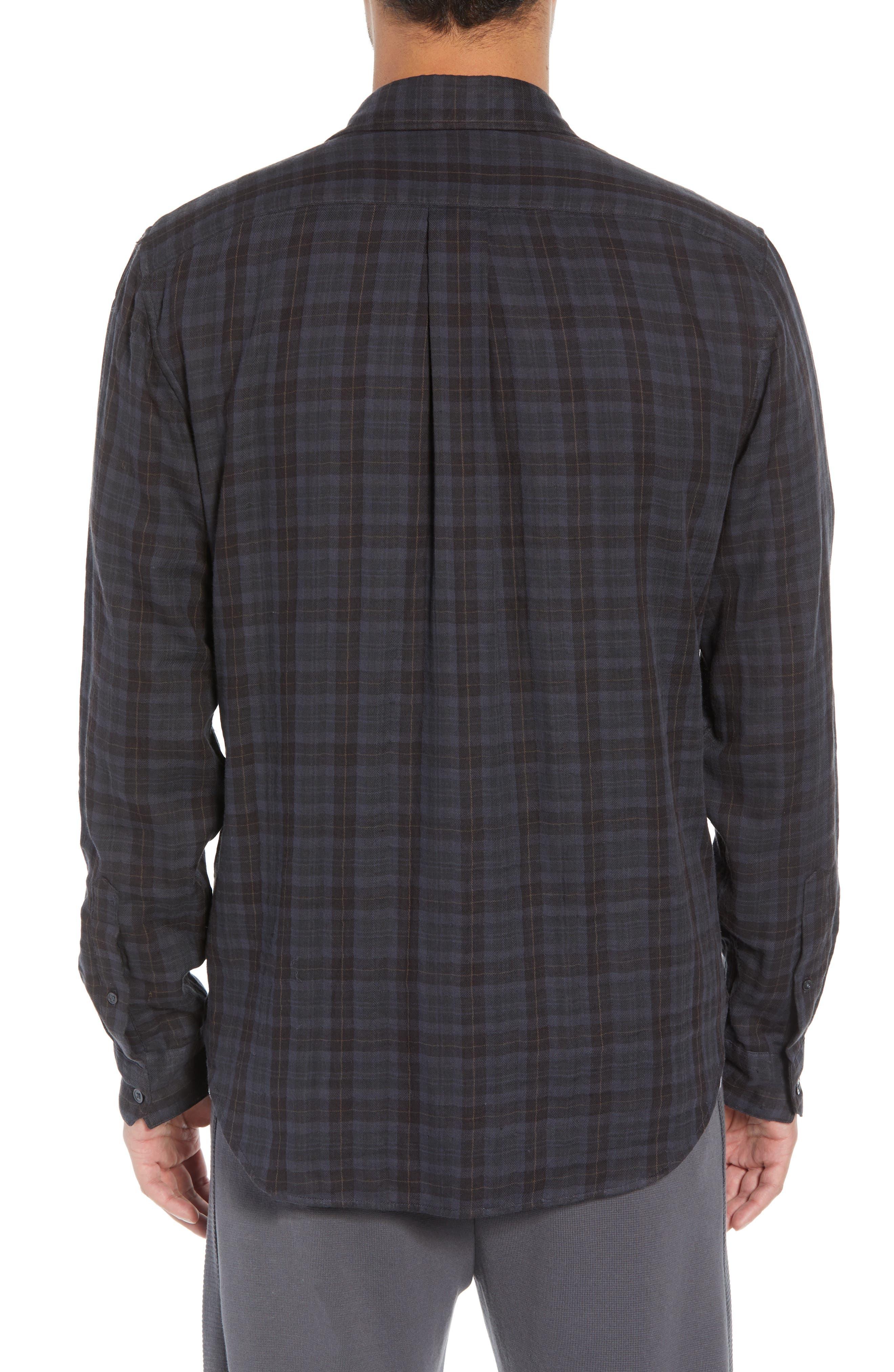 Slim Fit Plaid Double Knit Sport Shirt,                             Alternate thumbnail 3, color,                             SLATE