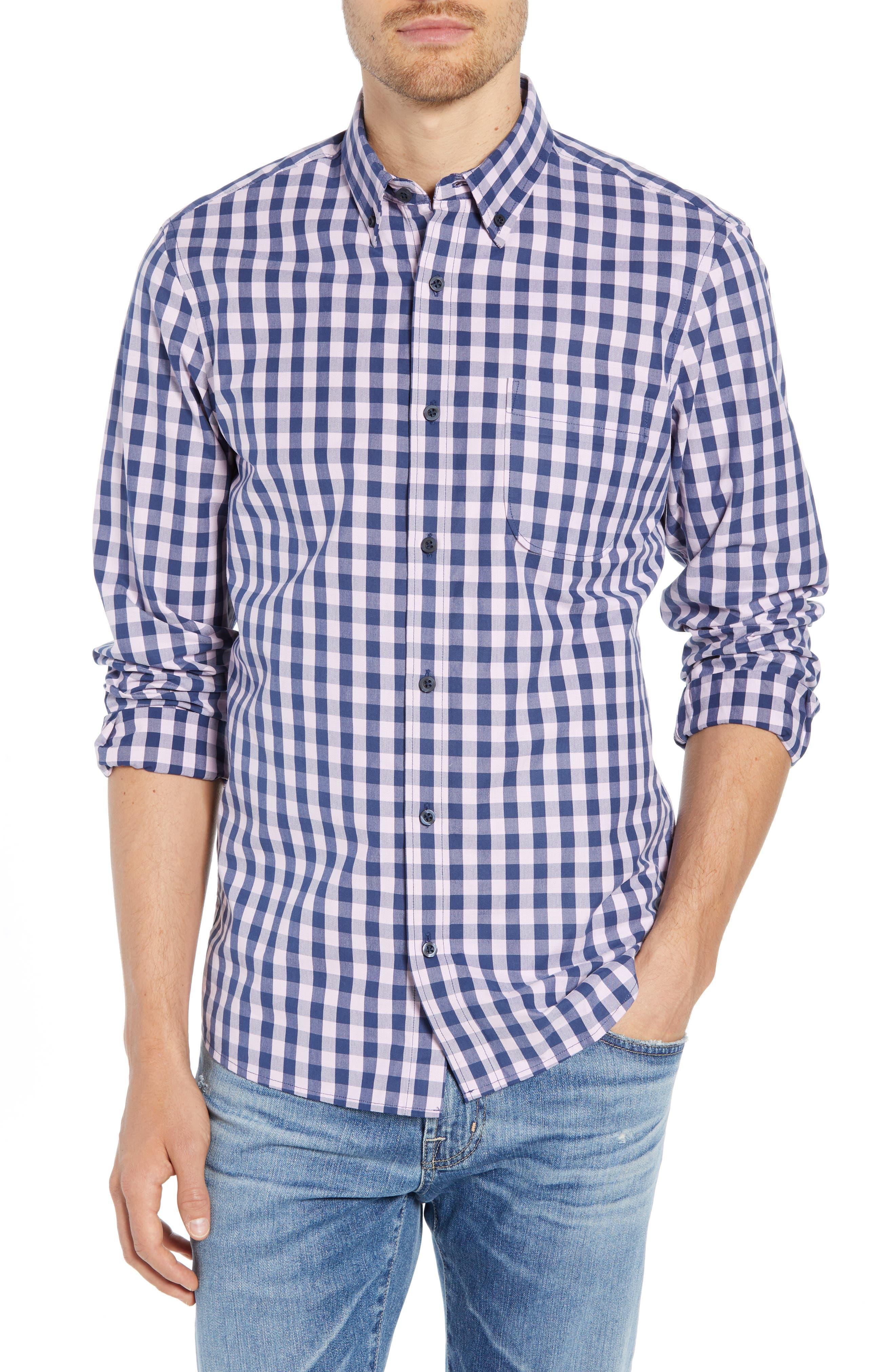 Slim Fit Gingham Sport Shirt,                             Main thumbnail 1, color,                             NAVY IRIS PINK CAMEO GINGHAM