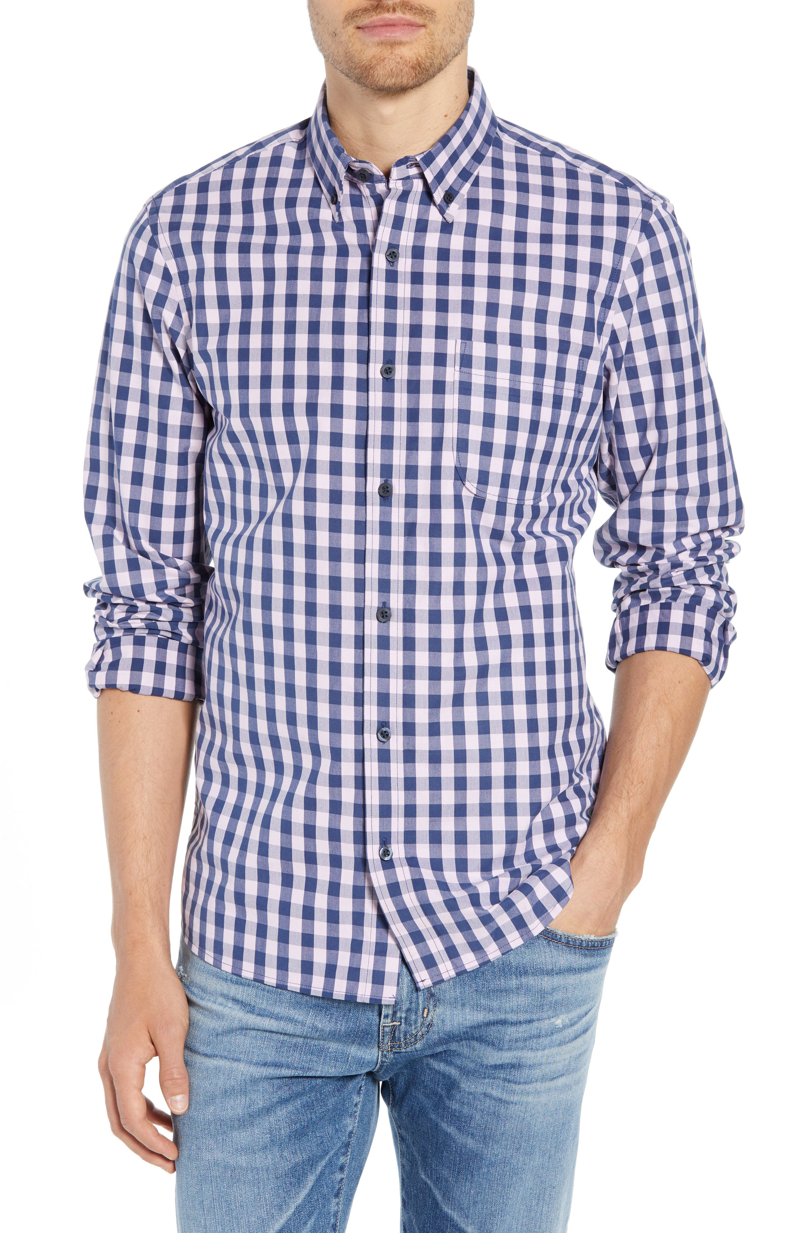 Slim Fit Gingham Sport Shirt,                         Main,                         color, NAVY IRIS PINK CAMEO GINGHAM