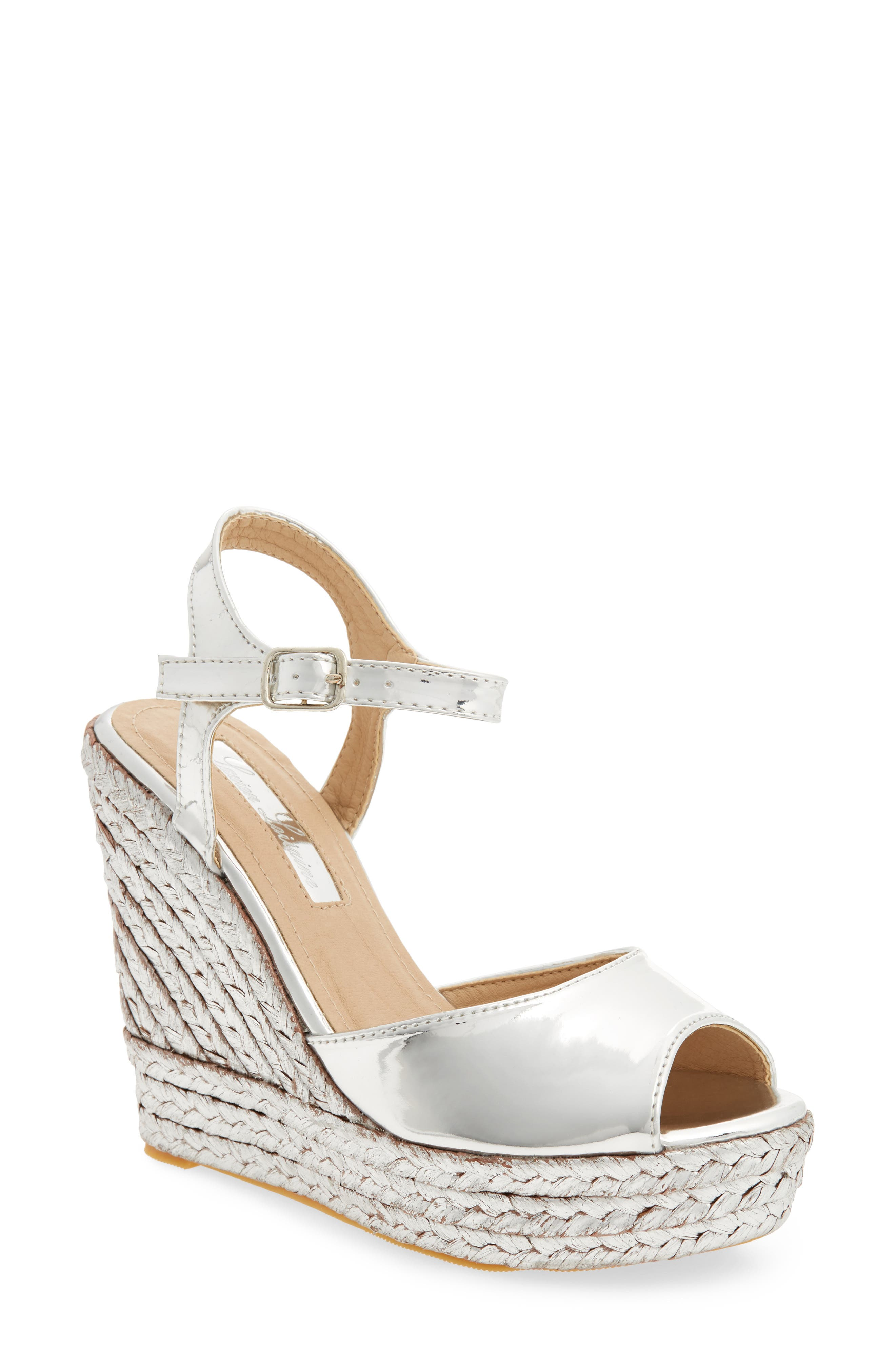 Lina Platform Wedge Sandal,                         Main,                         color, SILVER