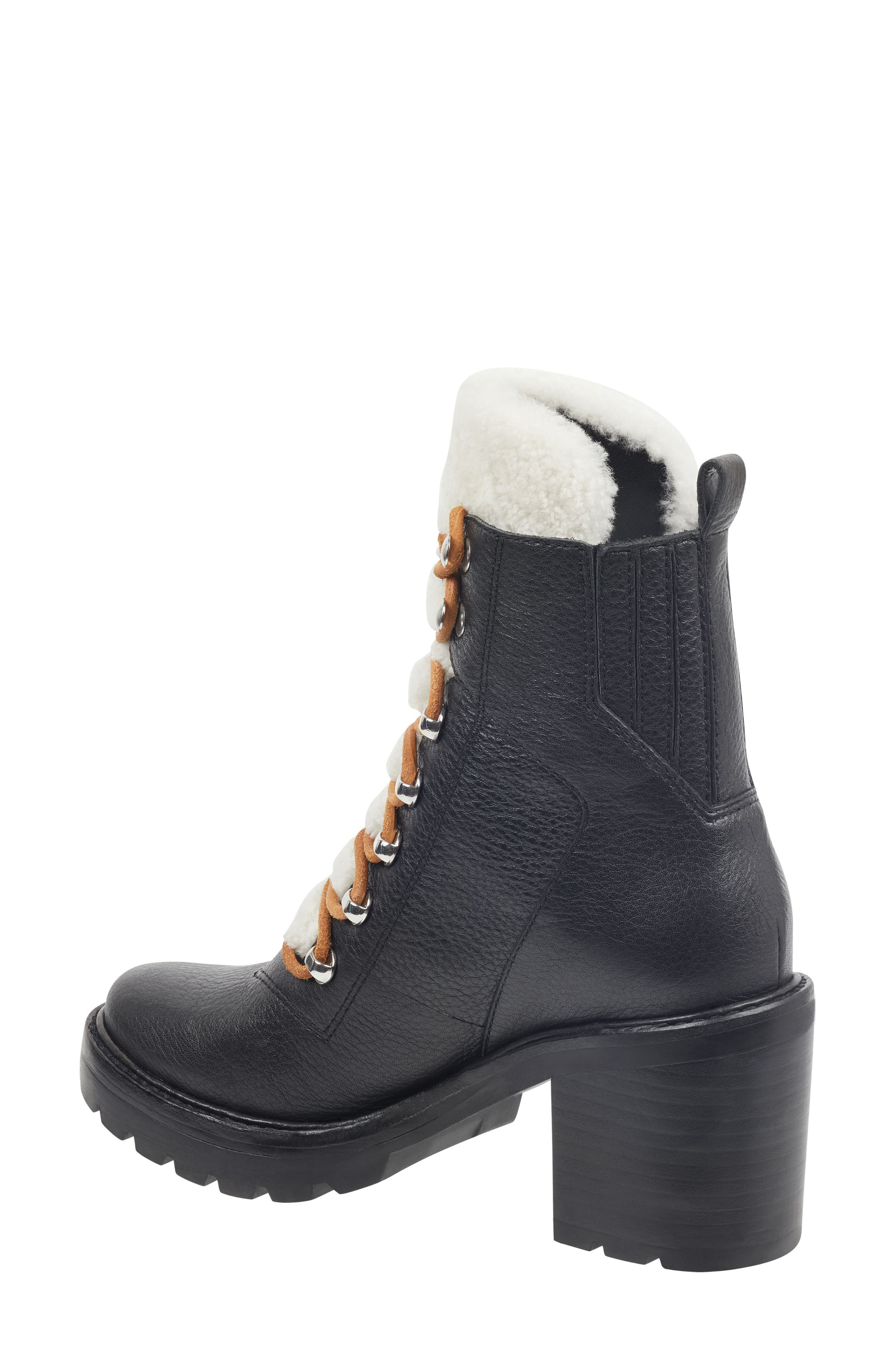Denise Combat Boot,                             Alternate thumbnail 2, color,                             BLACK/ NATURAL LEATHER
