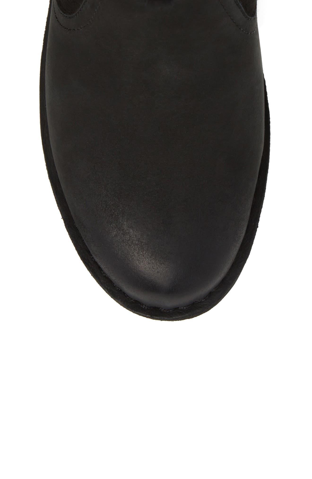 Naiyah Lace-Back Genuine Shearling Boot,                             Alternate thumbnail 5, color,                             BLACK/ BLACK NUBUCK LEATHER