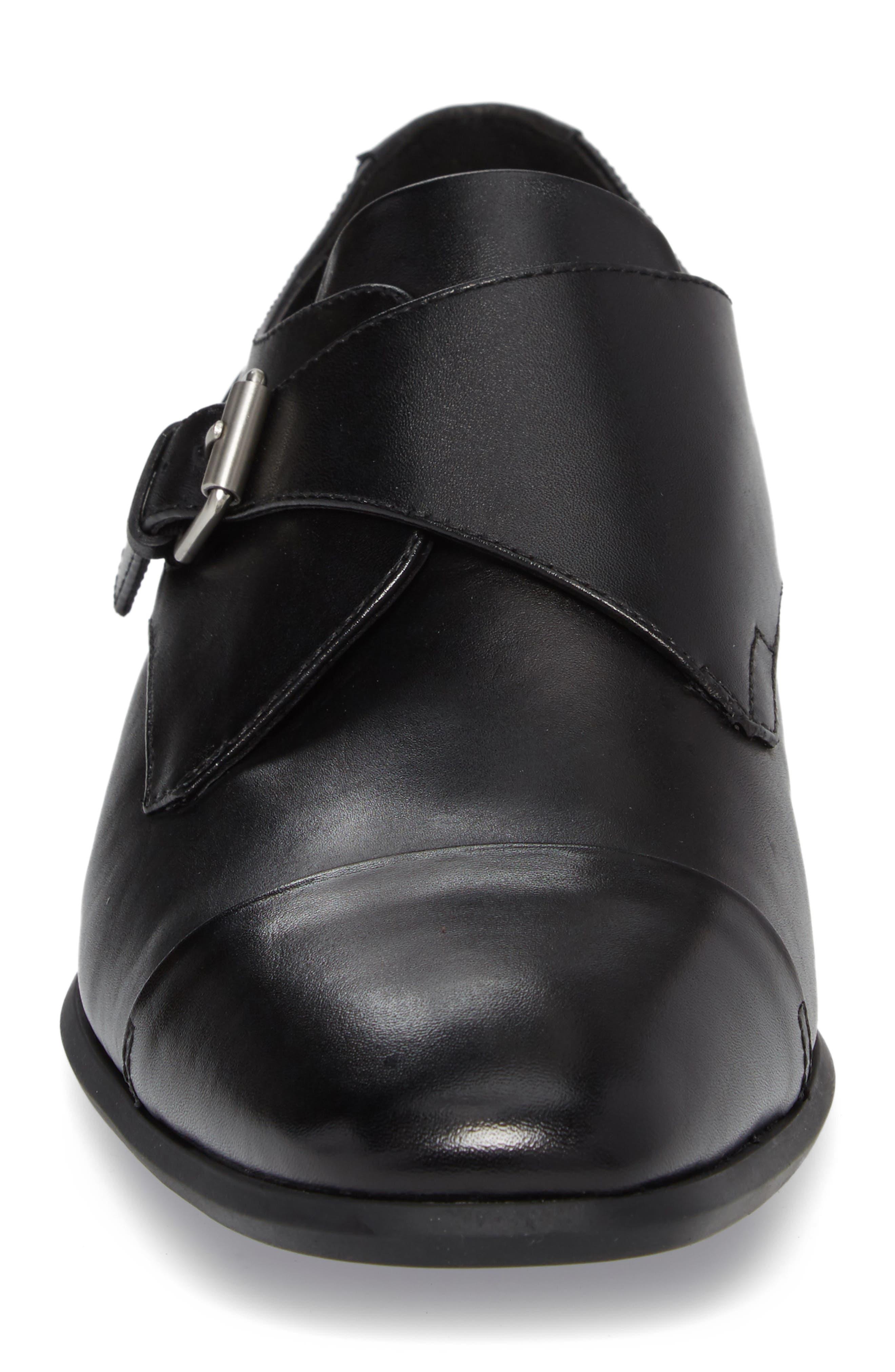 Lucus Monk Strap Shoe,                             Alternate thumbnail 4, color,                             BLACK LEATHER