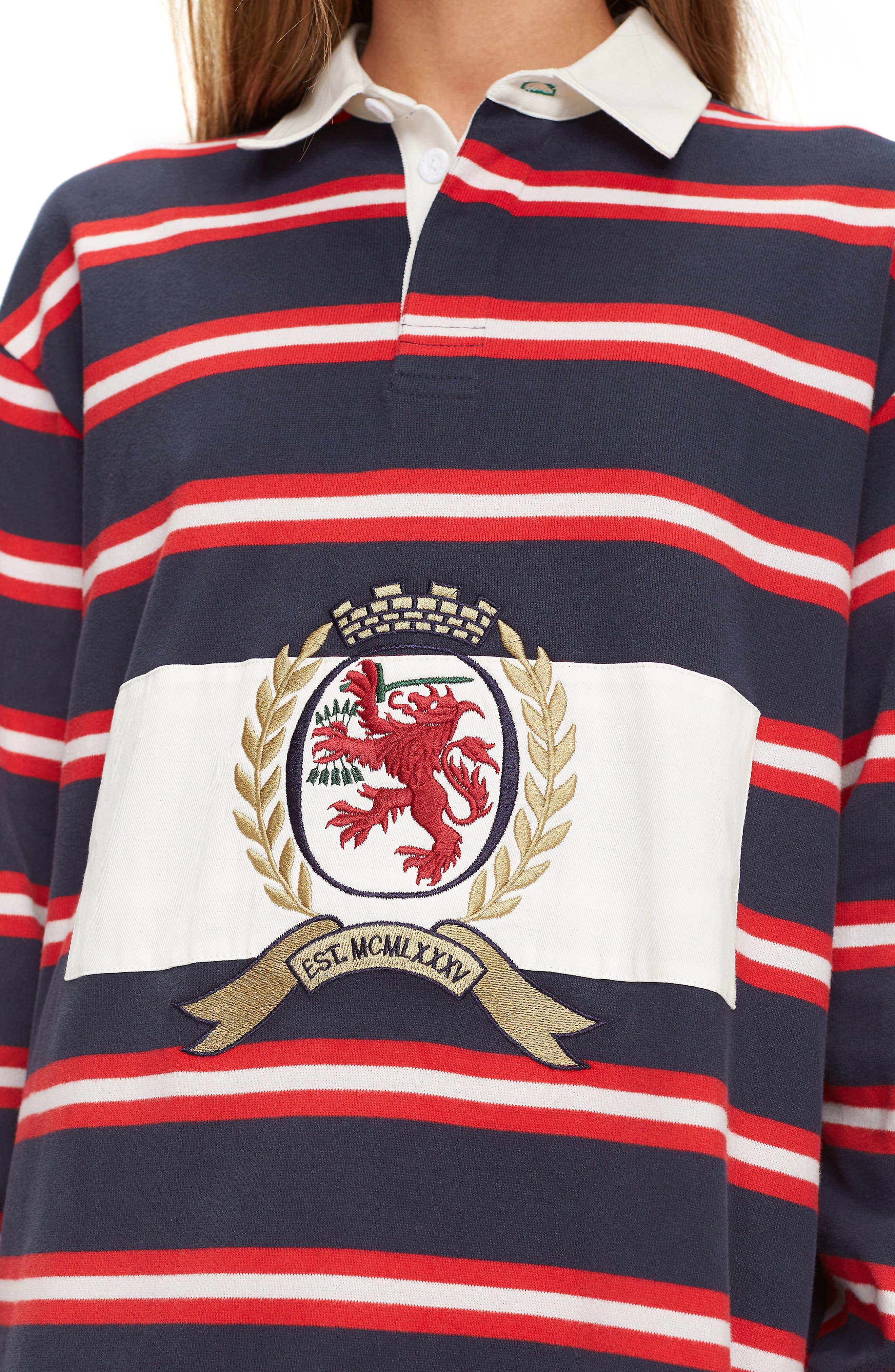 Crest Capsule Stripe Rugby Dress,                             Alternate thumbnail 3, color,                             DARK SAPPHIRE / MULTI