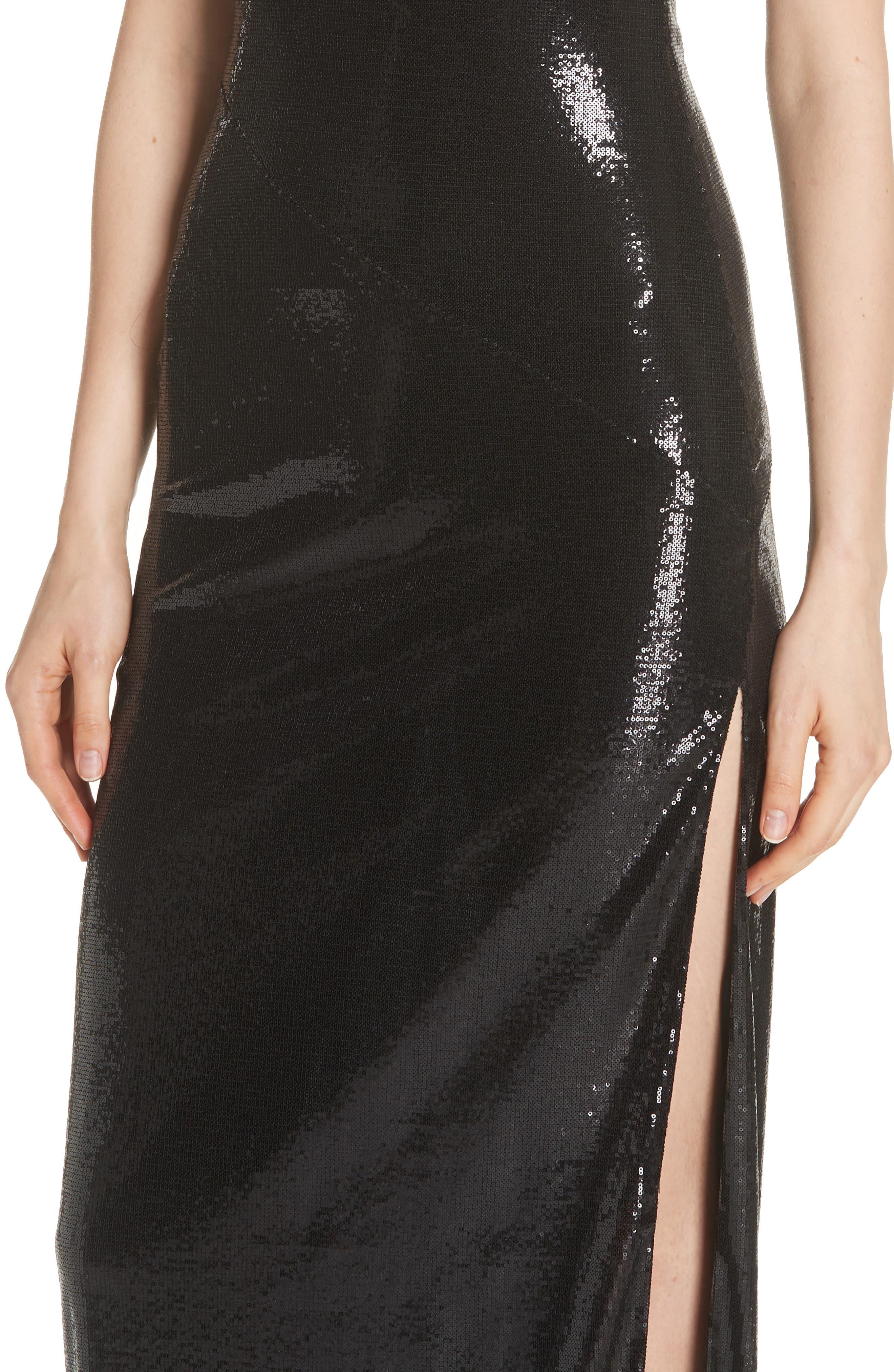 GALVAN,                             Turtleneck Sequin Gown,                             Alternate thumbnail 5, color,                             BLACK