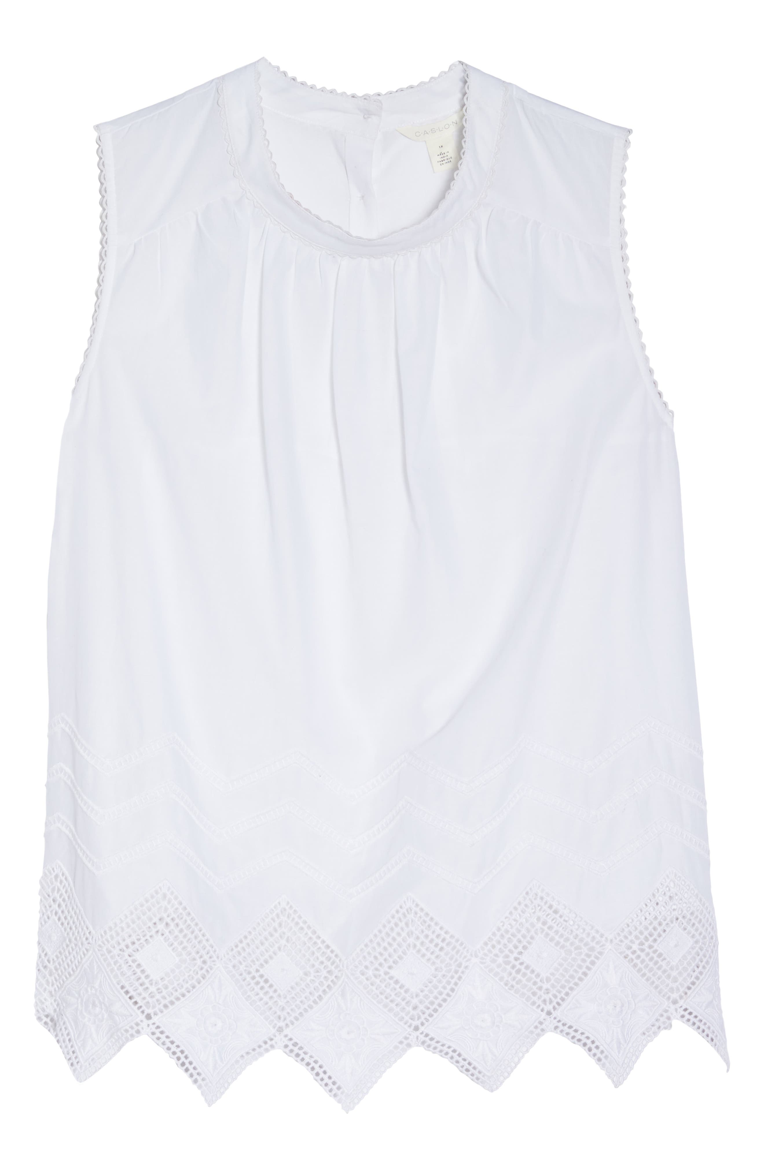 Embroidered Hem Top,                             Alternate thumbnail 7, color,                             100