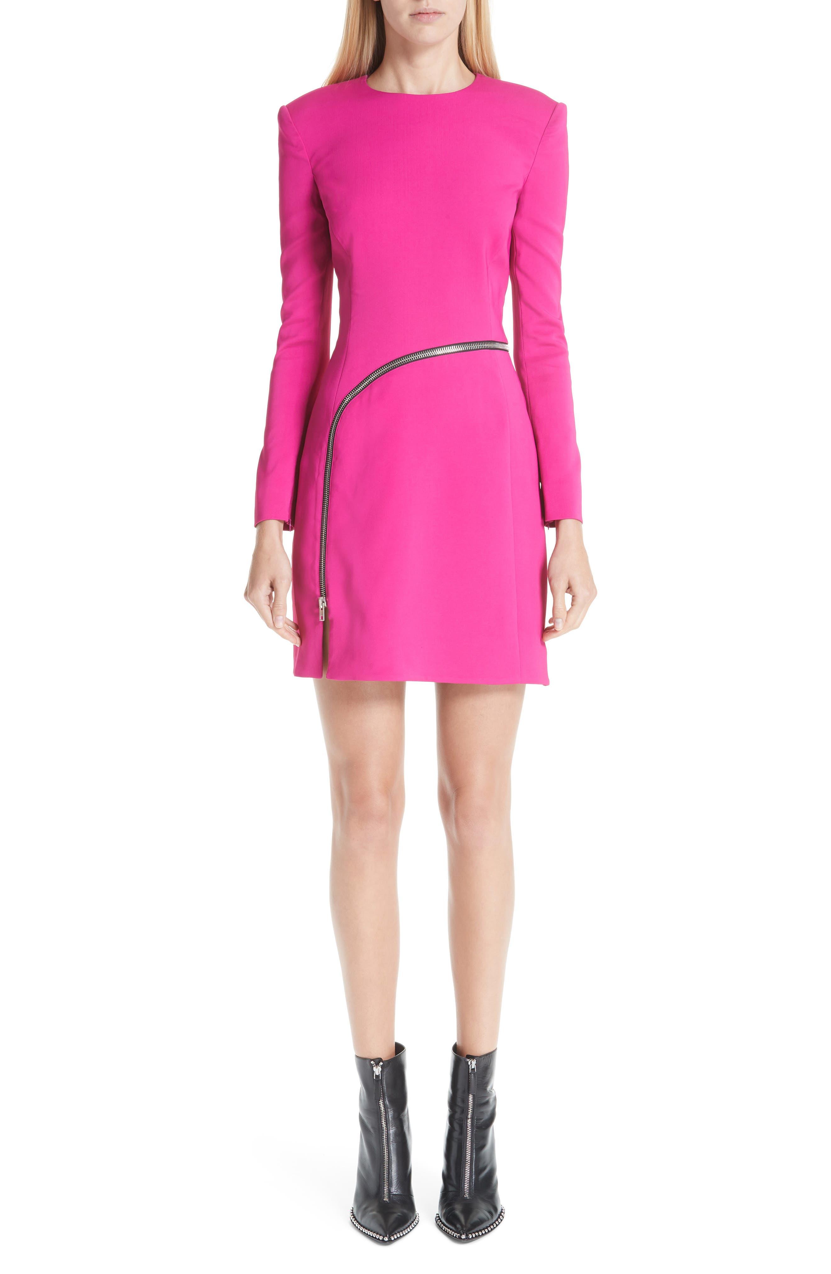 Alexander Wang Zipper Detail A-Line Dress, Pink