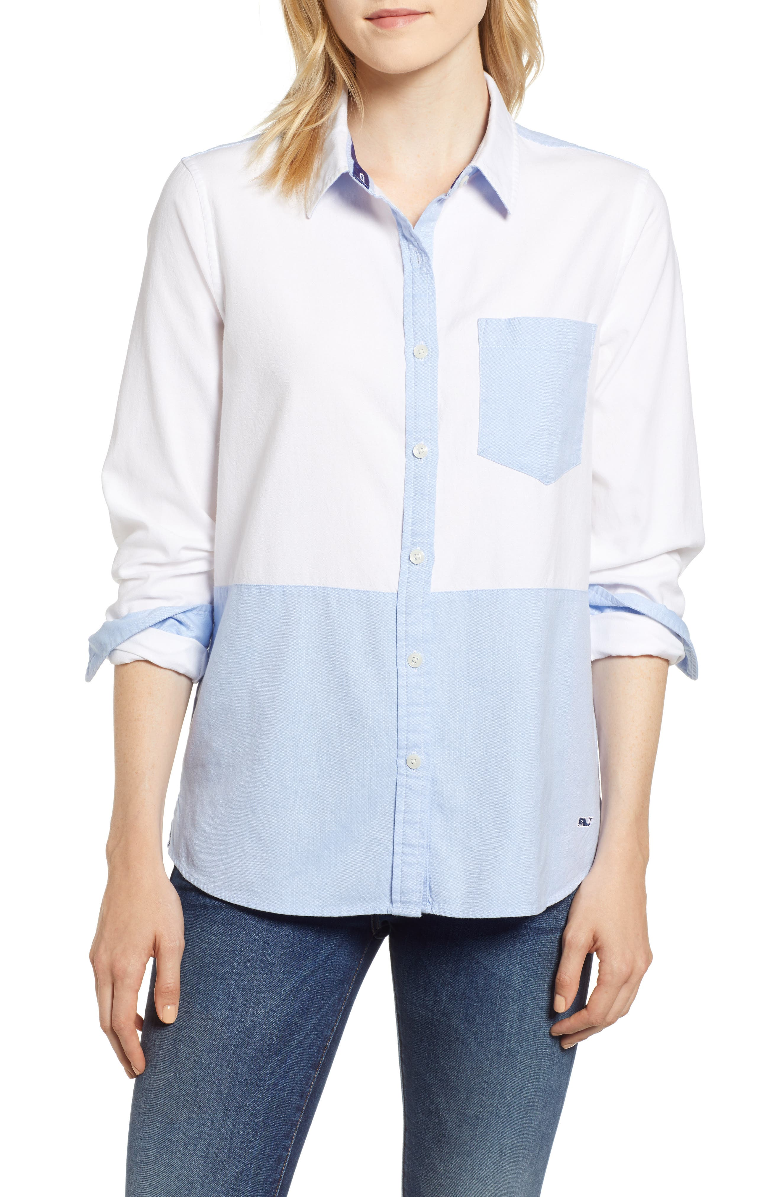 Colorblock Relaxed Oxford Blouse,                         Main,                         color, WHITE CAP