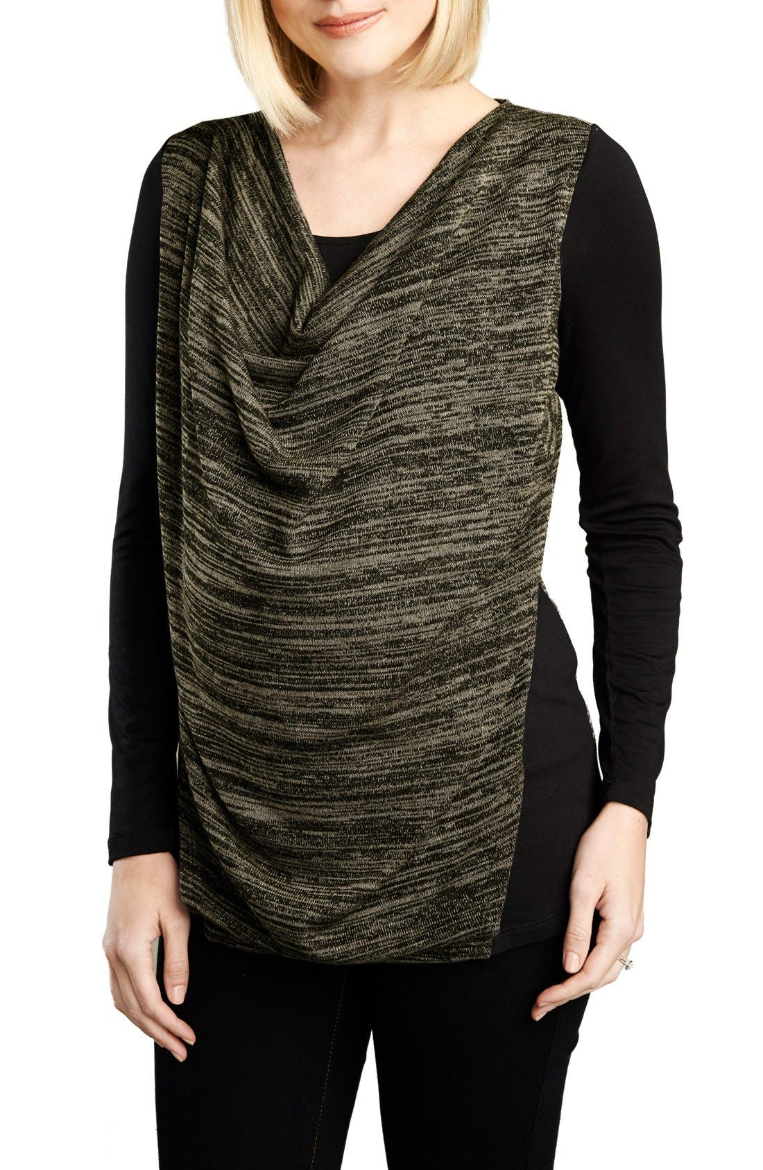 Cowl Neck Nursing Top,                         Main,                         color, BLACK/OLIVE SPACE DYE