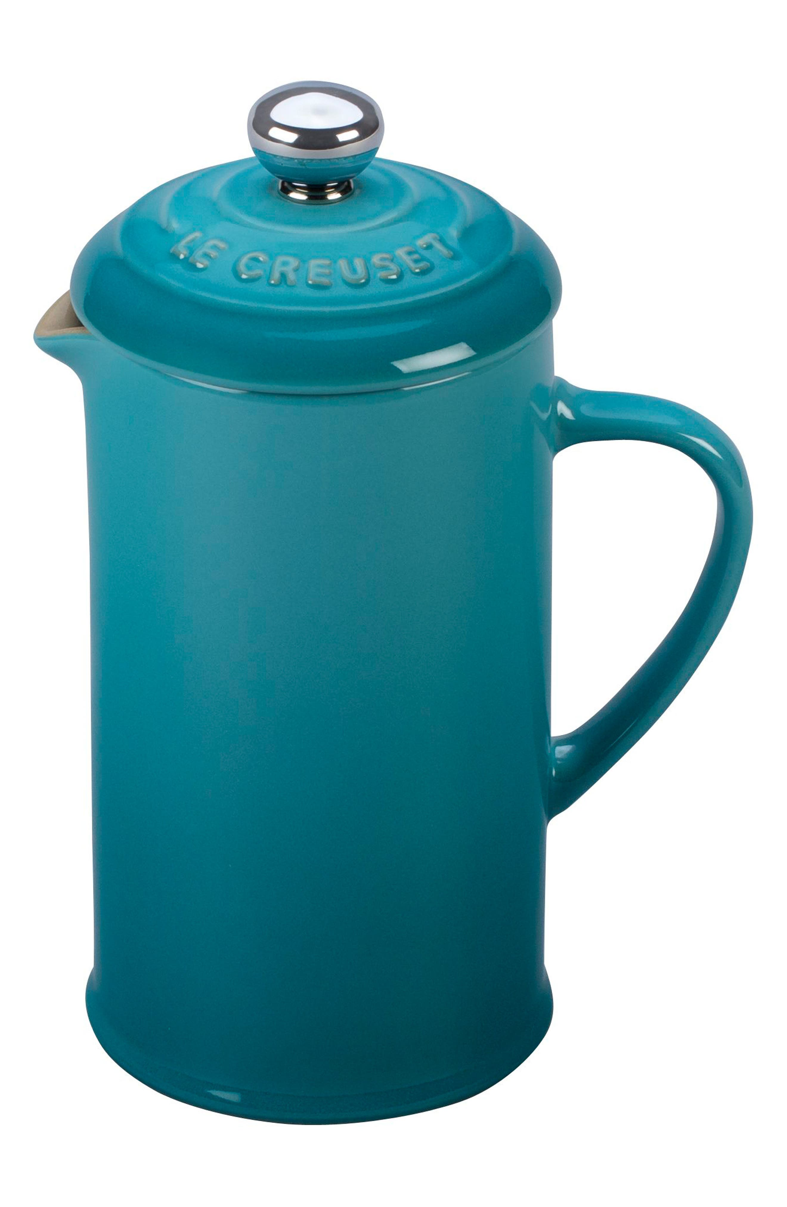 12 Ounce Stoneware French Press,                             Main thumbnail 1, color,                             CARIBBEAN
