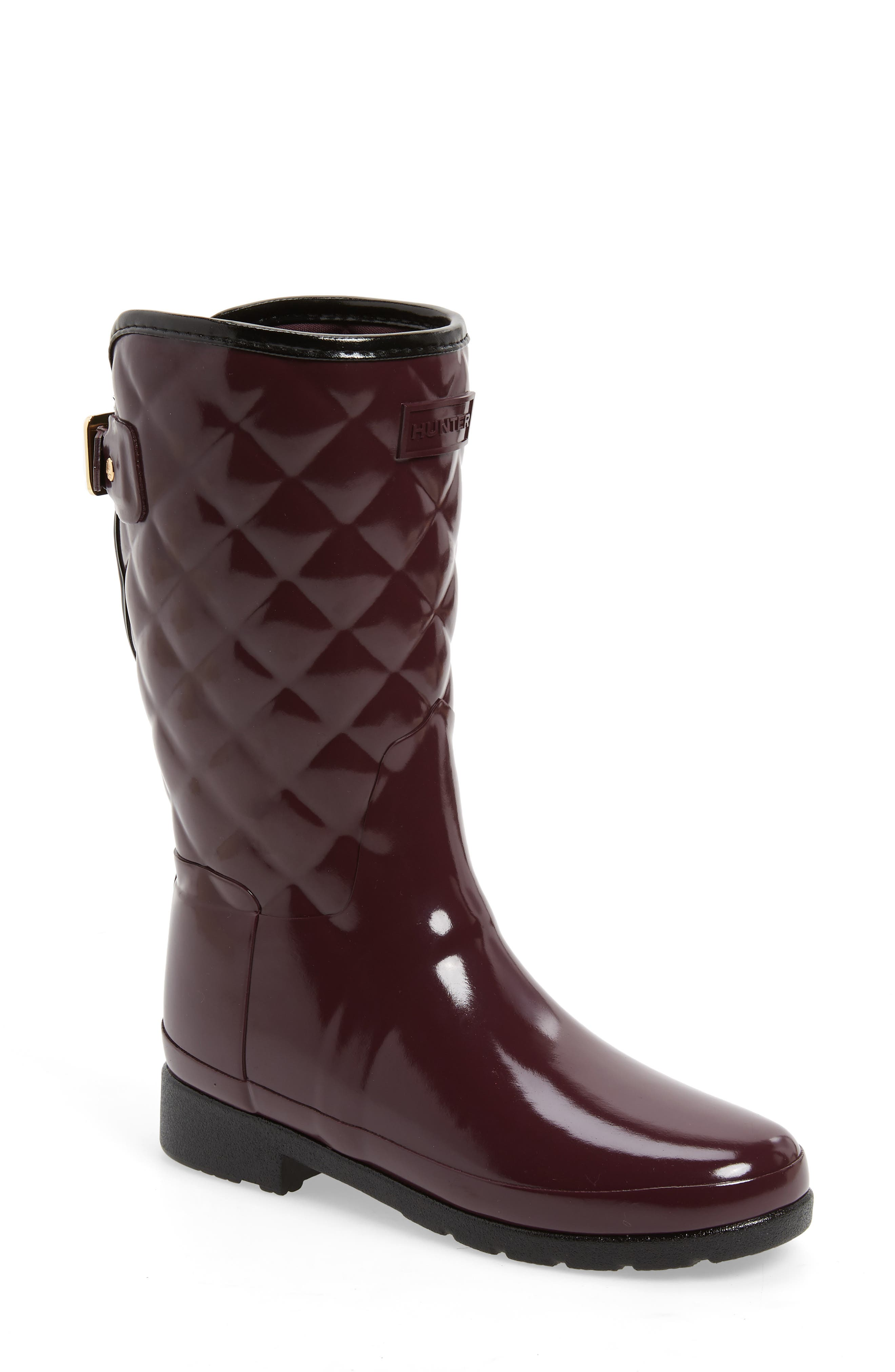 Refined High Gloss Quilted Short Waterproof Rain Boot,                             Main thumbnail 1, color,                             OXBLOOD
