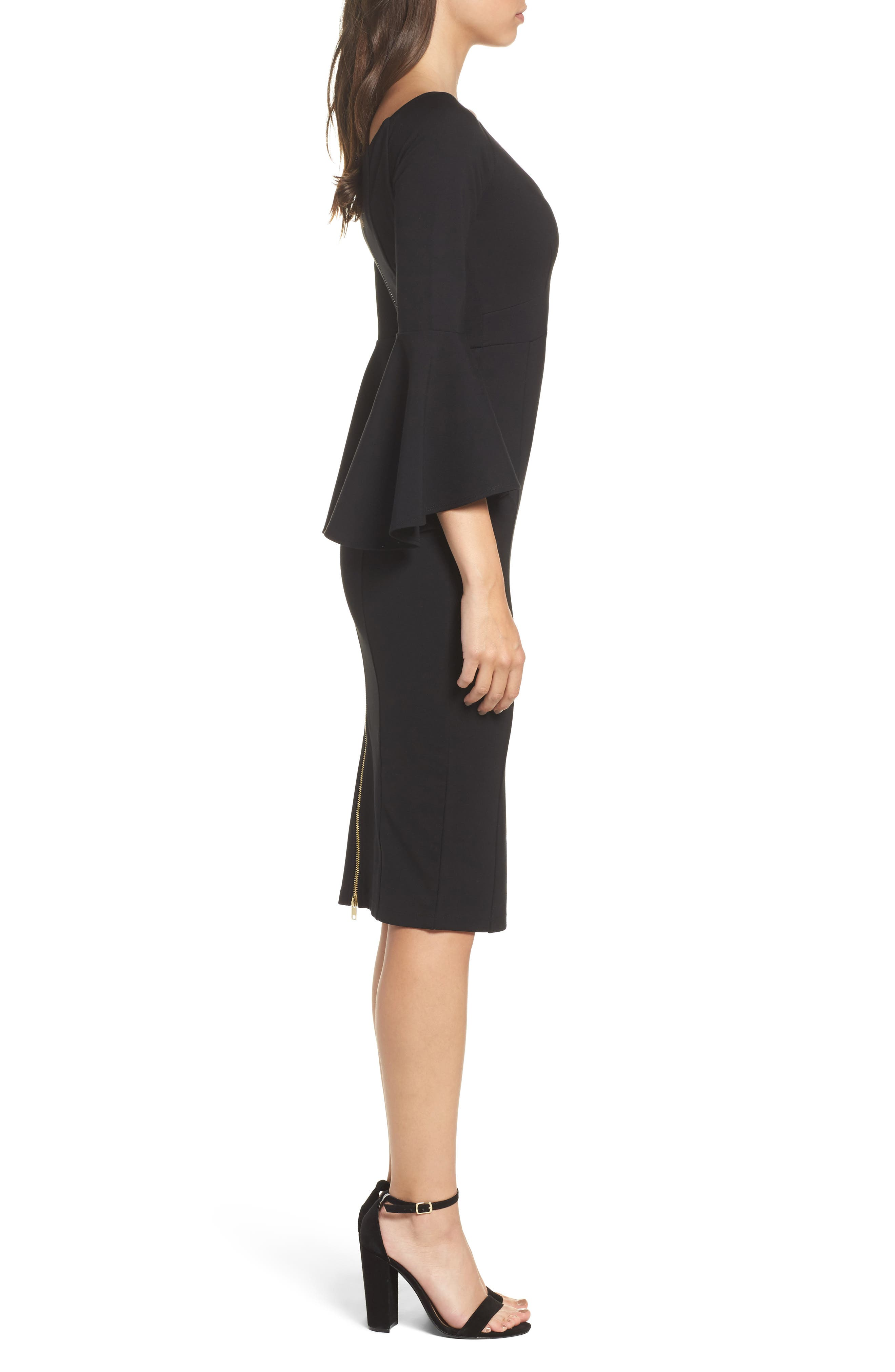 Milly Bell Sleeve Midi Dress,                             Alternate thumbnail 3, color,                             401