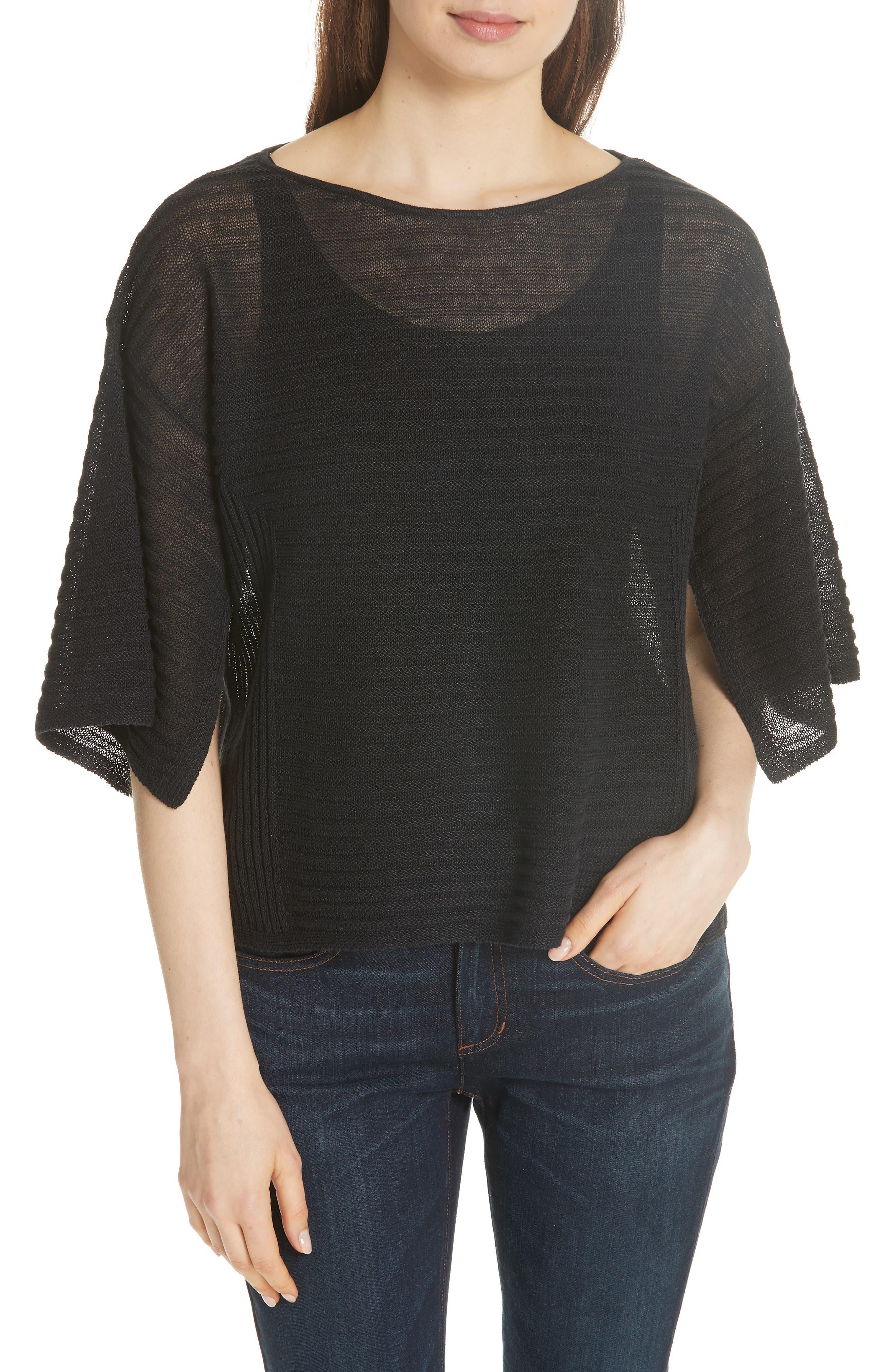 Slit Sleeve Organic Linen Sweater,                         Main,                         color, 001