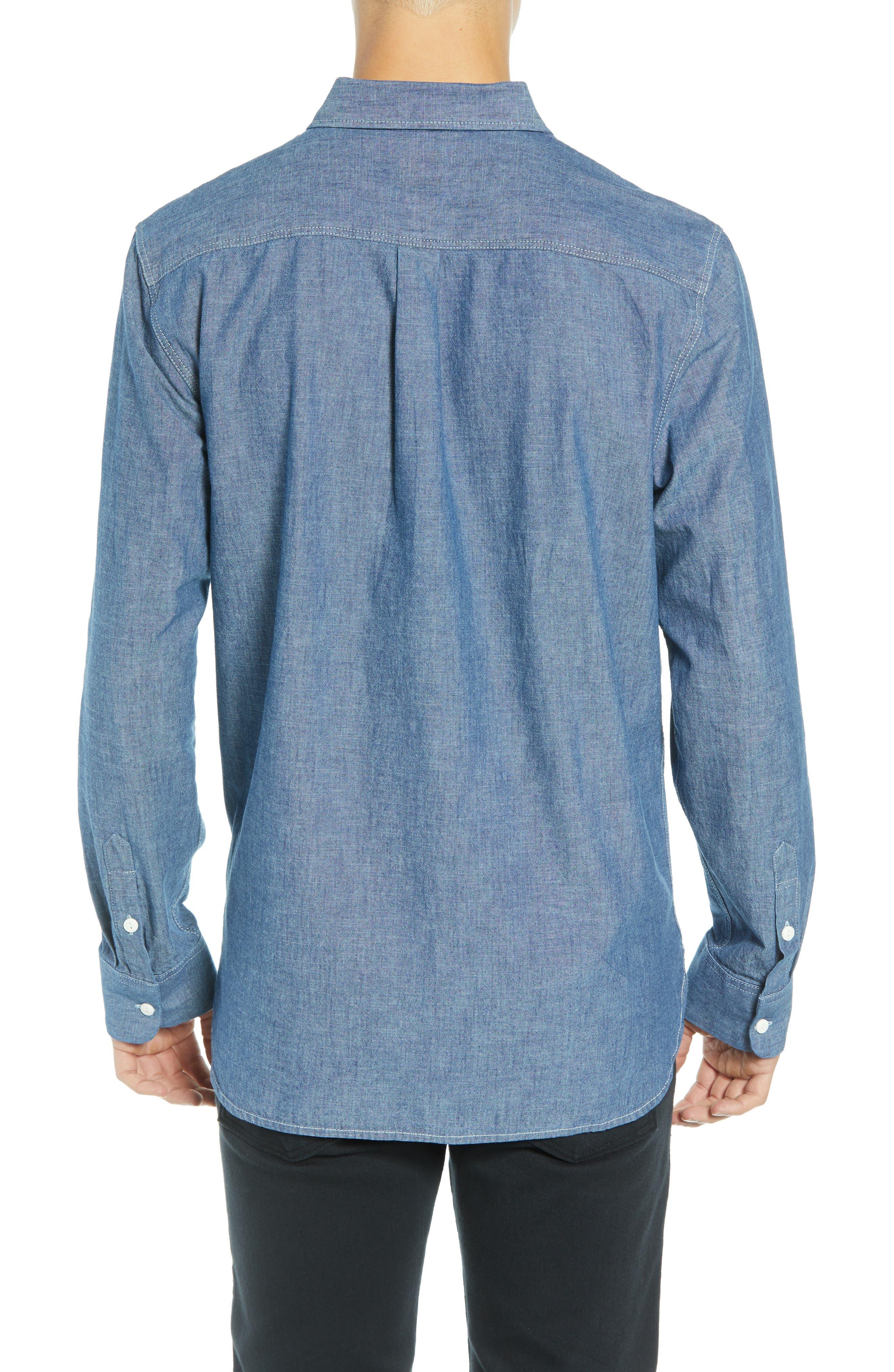 Carlow Chambray Shirt,                             Alternate thumbnail 3, color,                             INDIGO CHAMBRAY