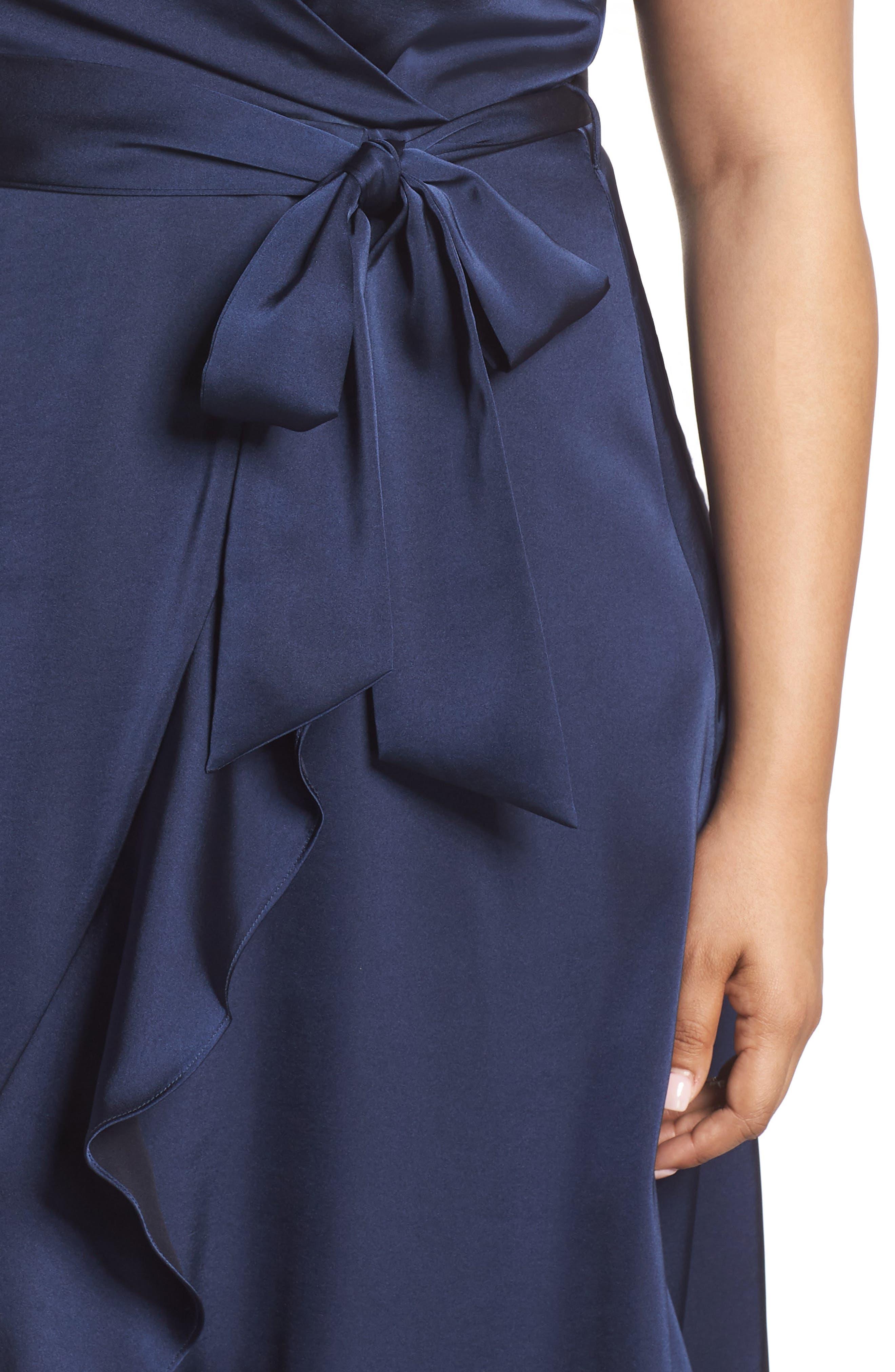 Marilyn Satin Faux Wrap Dress,                             Alternate thumbnail 4, color,                             400