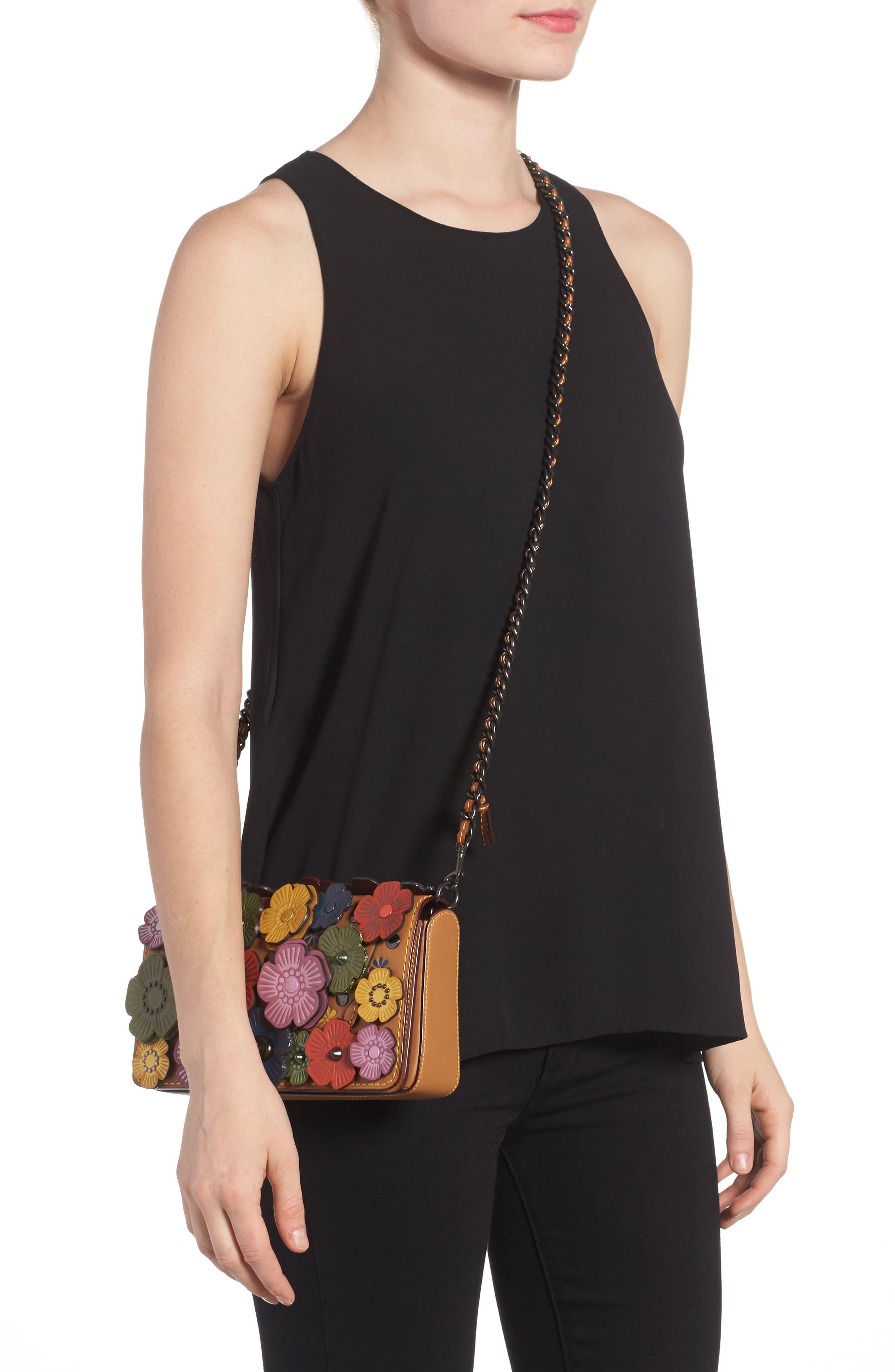 'Dinky' Flower Appliqué Leather Crossbody Bag,                             Alternate thumbnail 14, color,