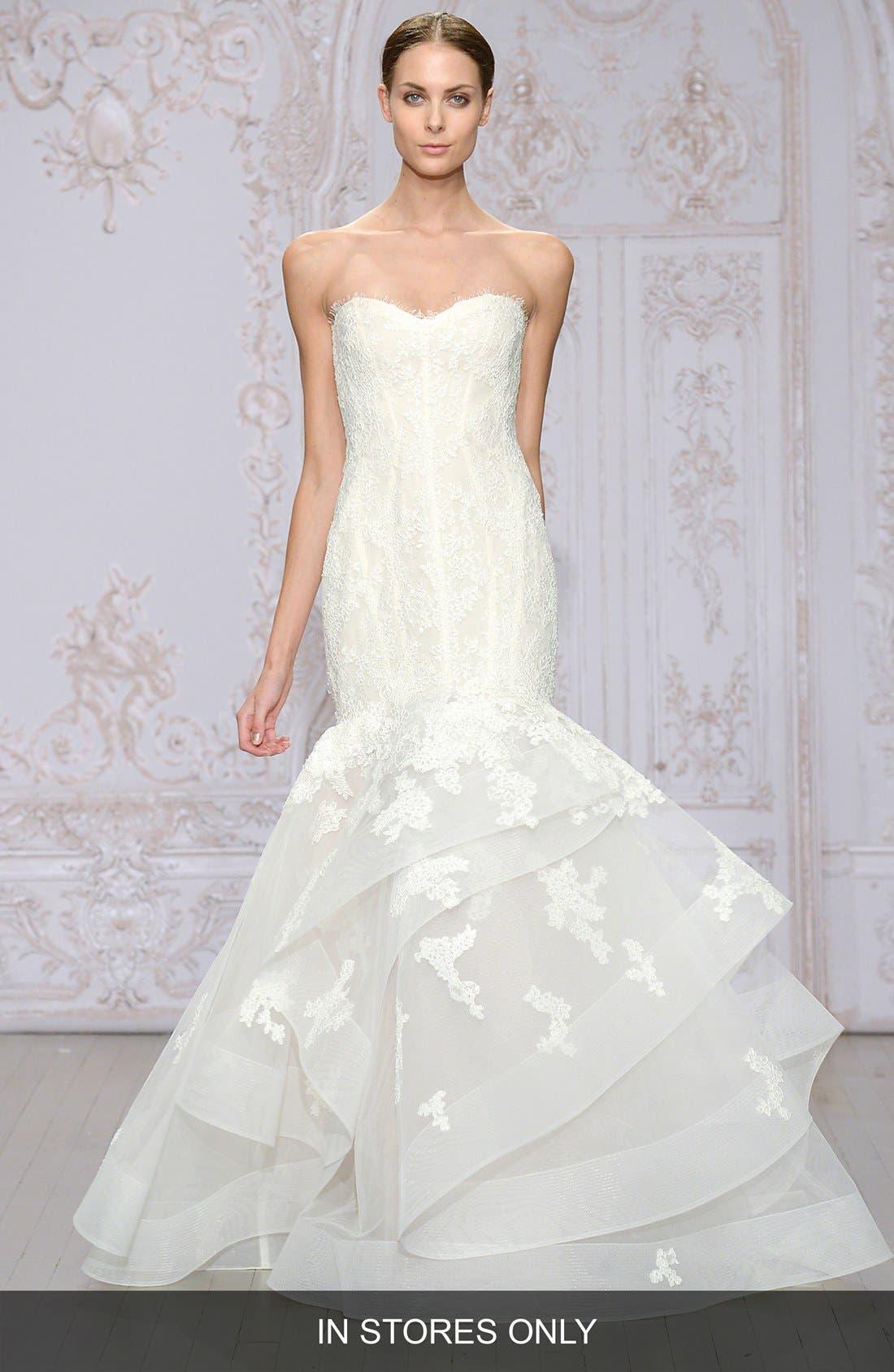 Saffron Strapless Lace & Organza Mermaid Gown,                         Main,                         color, SILK WHITE/ BLUSH
