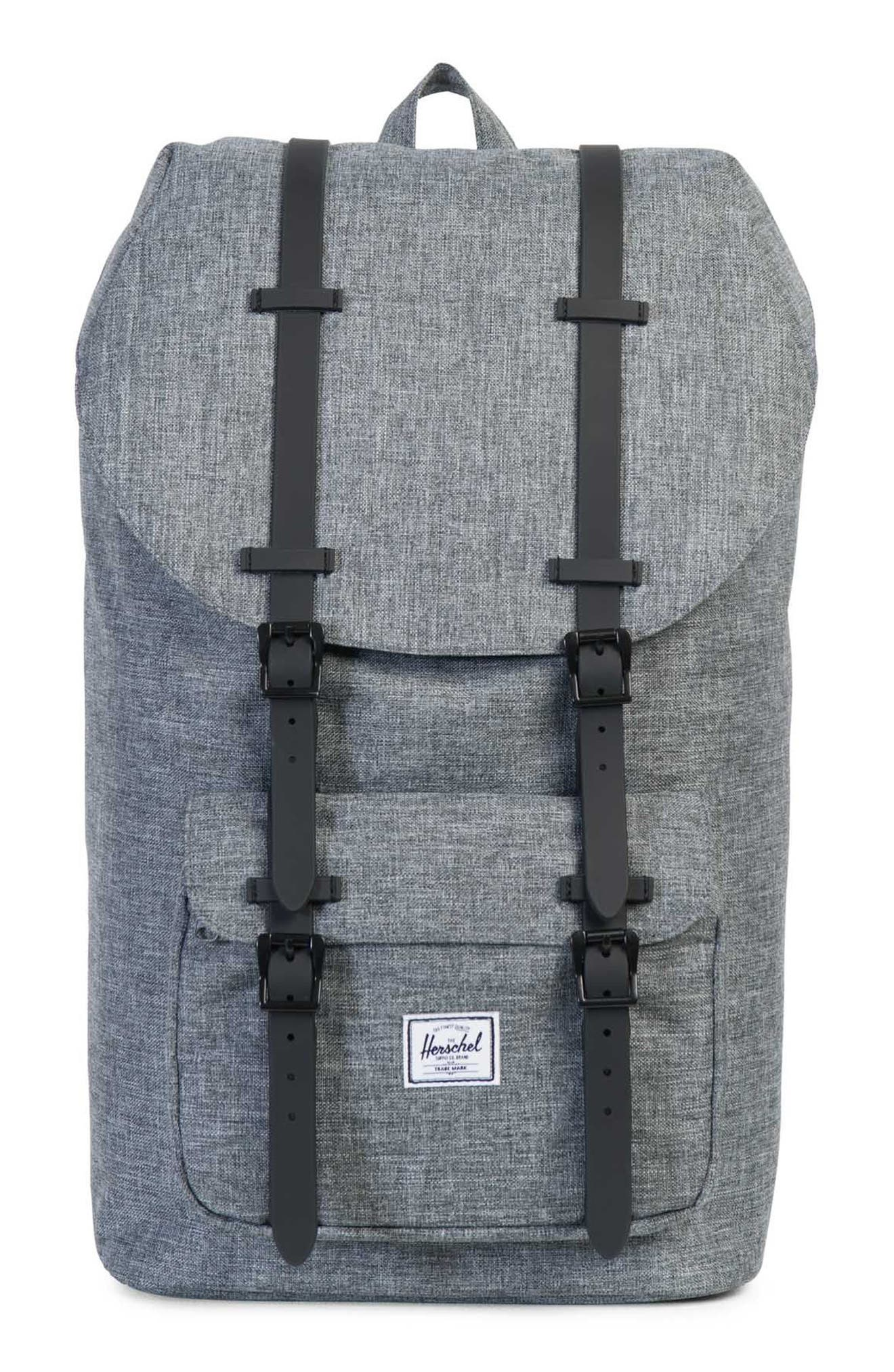 Little America Backpack - Grey in Raven Crosshatch/ Black
