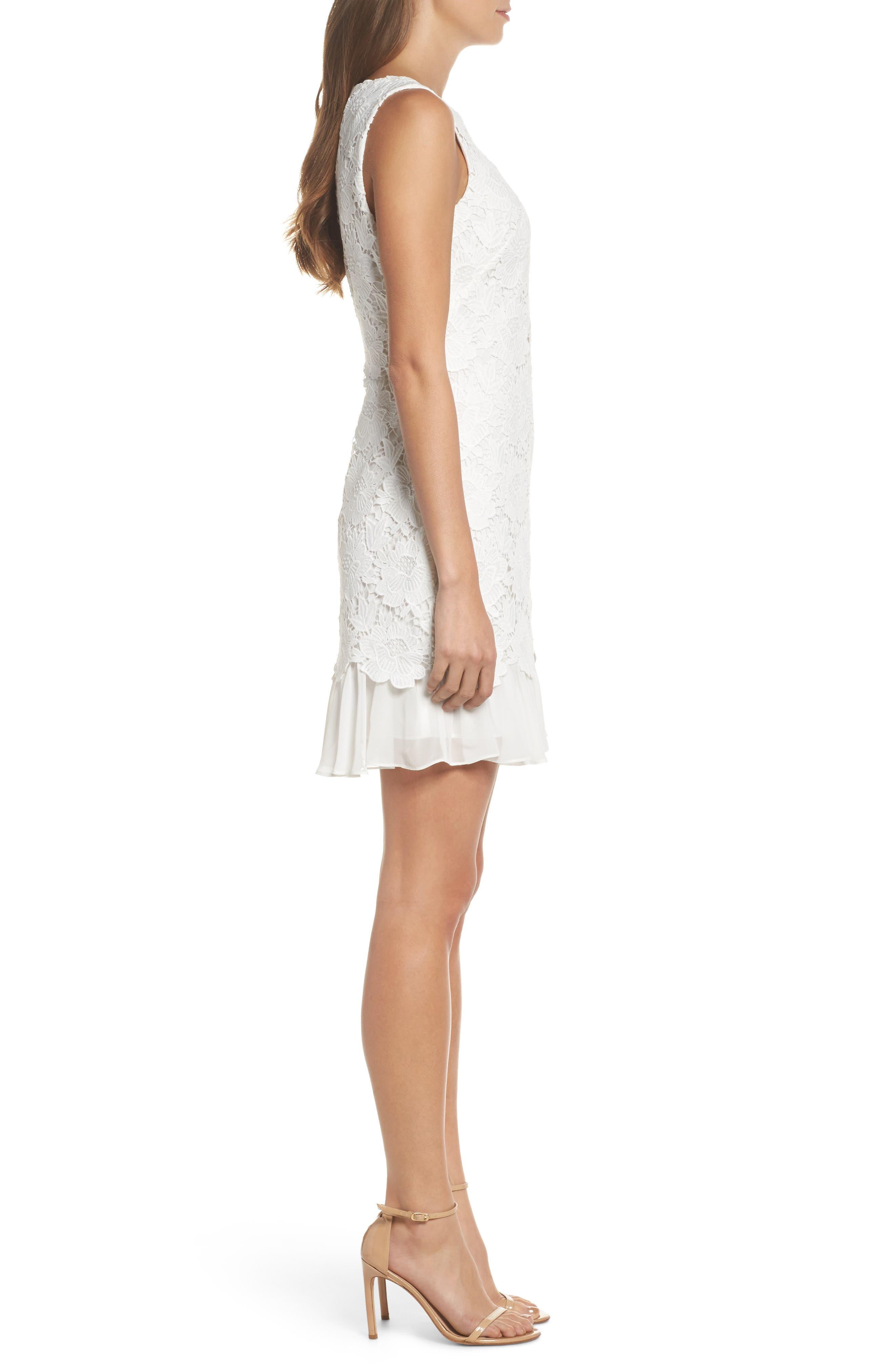 Lace Ruffle Hem Sheath Dress,                             Alternate thumbnail 6, color,