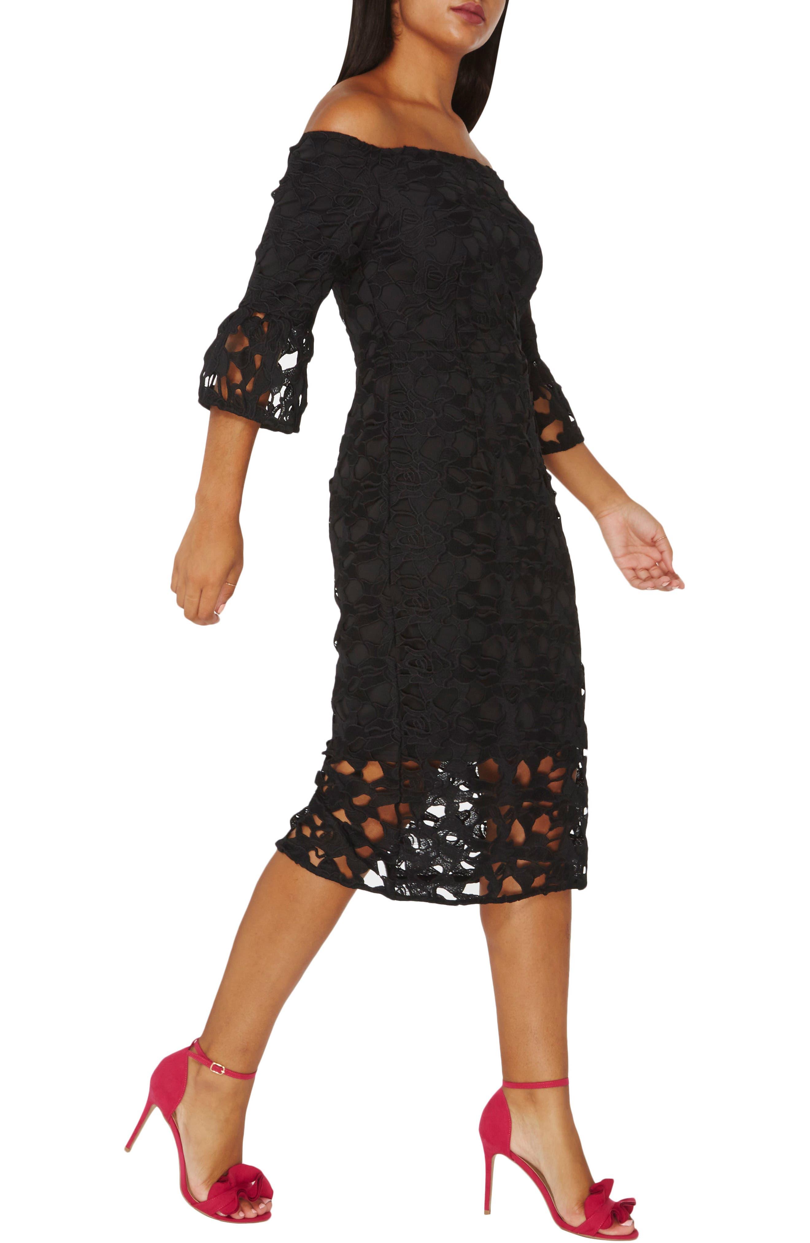 Lace Off the Shoulder Dress,                             Main thumbnail 1, color,                             010