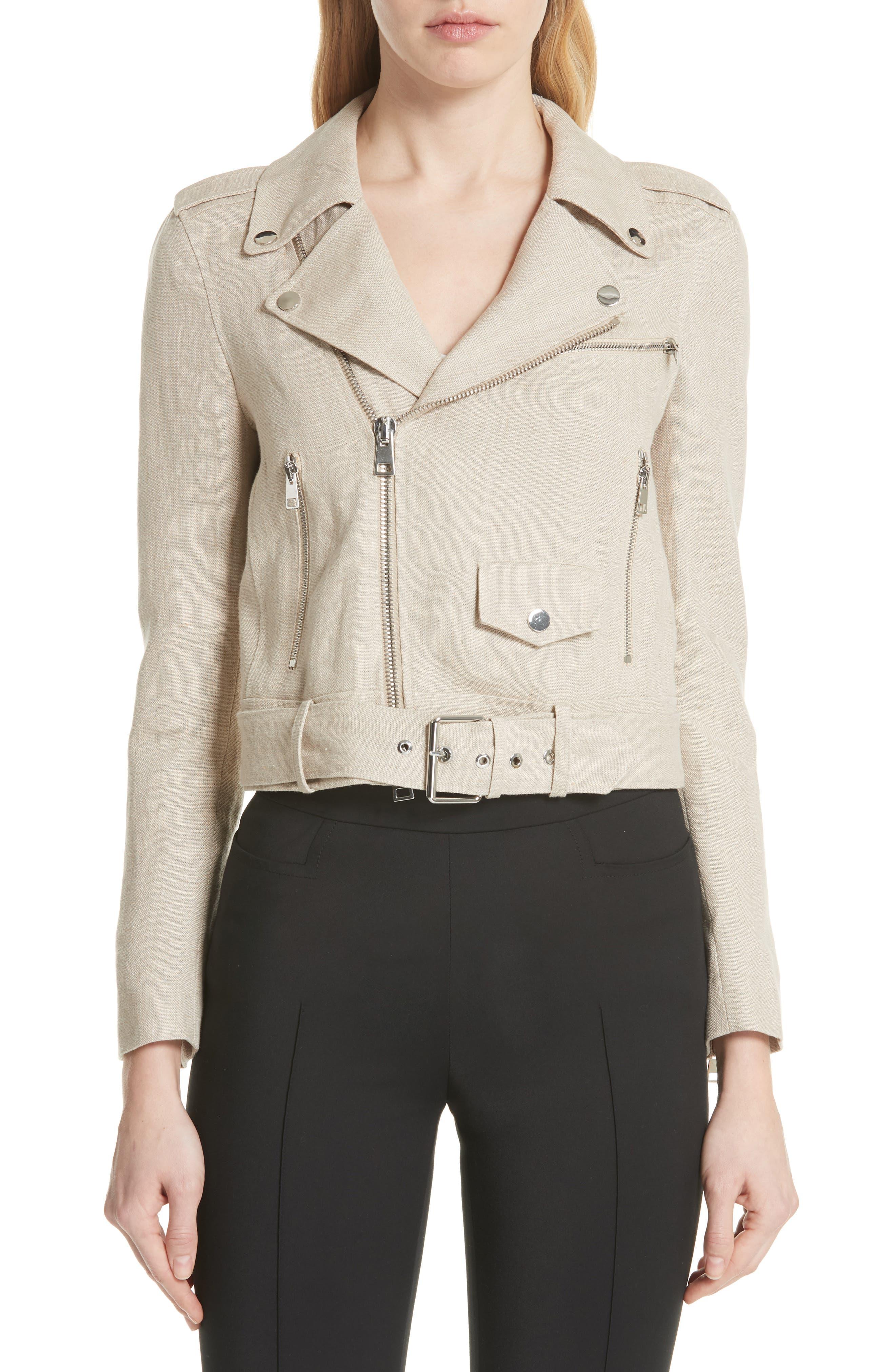Shrunken Linen Moto Jacket,                             Main thumbnail 1, color,