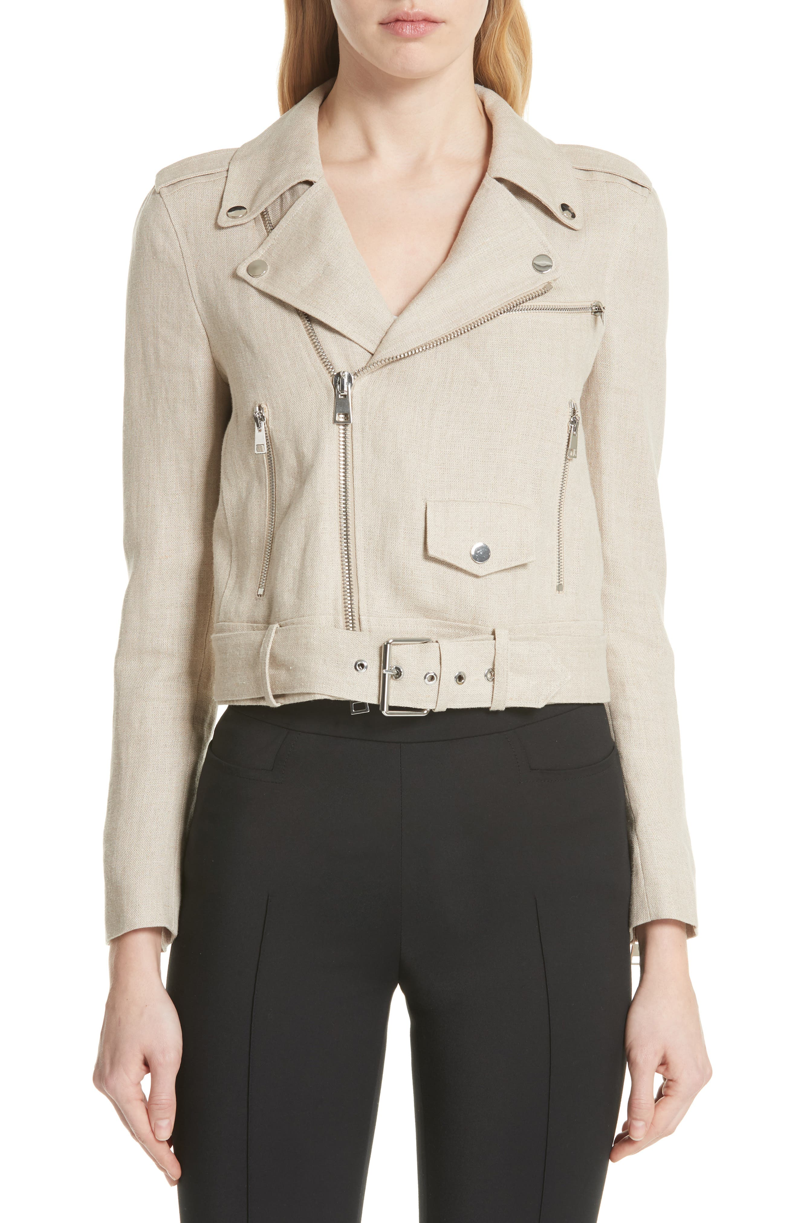 Shrunken Linen Moto Jacket,                         Main,                         color,