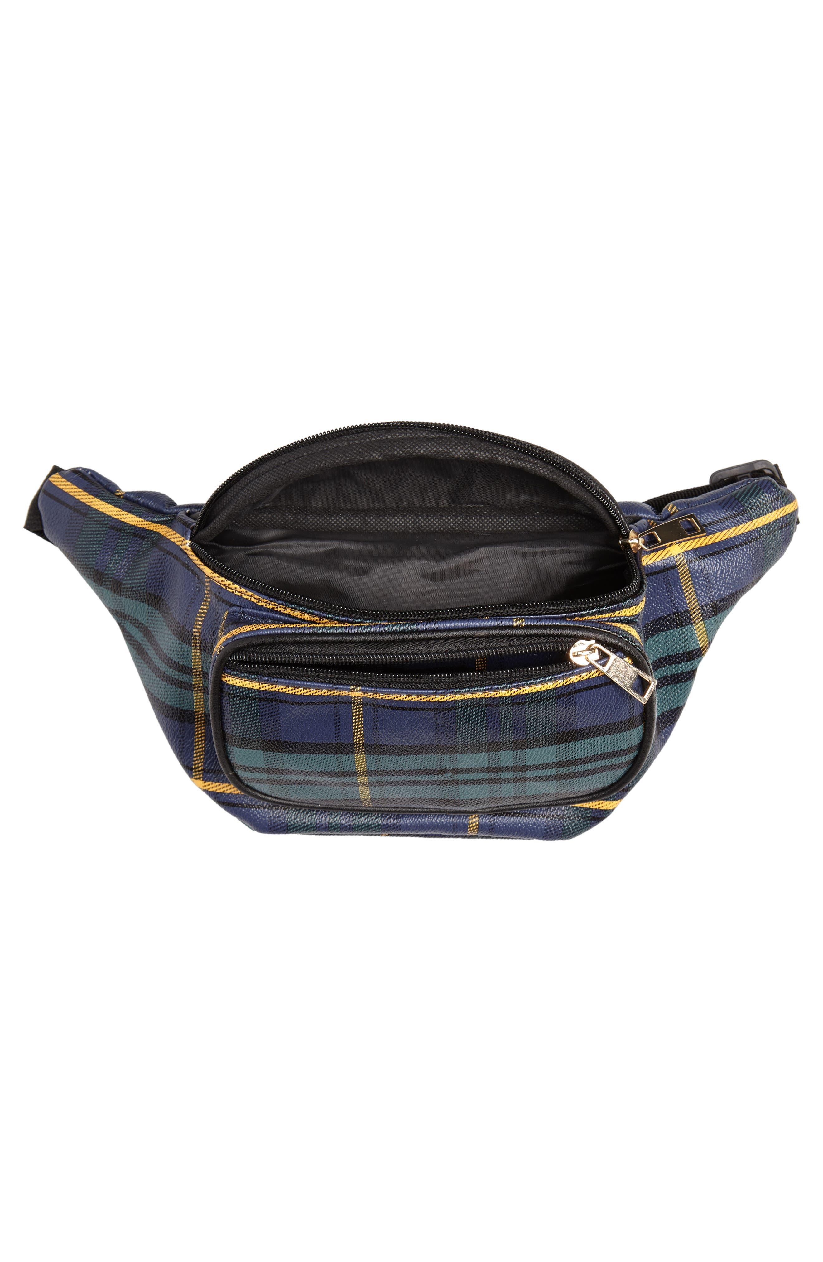 Jane & Berry Plaid Belt Bag,                             Alternate thumbnail 5, color,                             300
