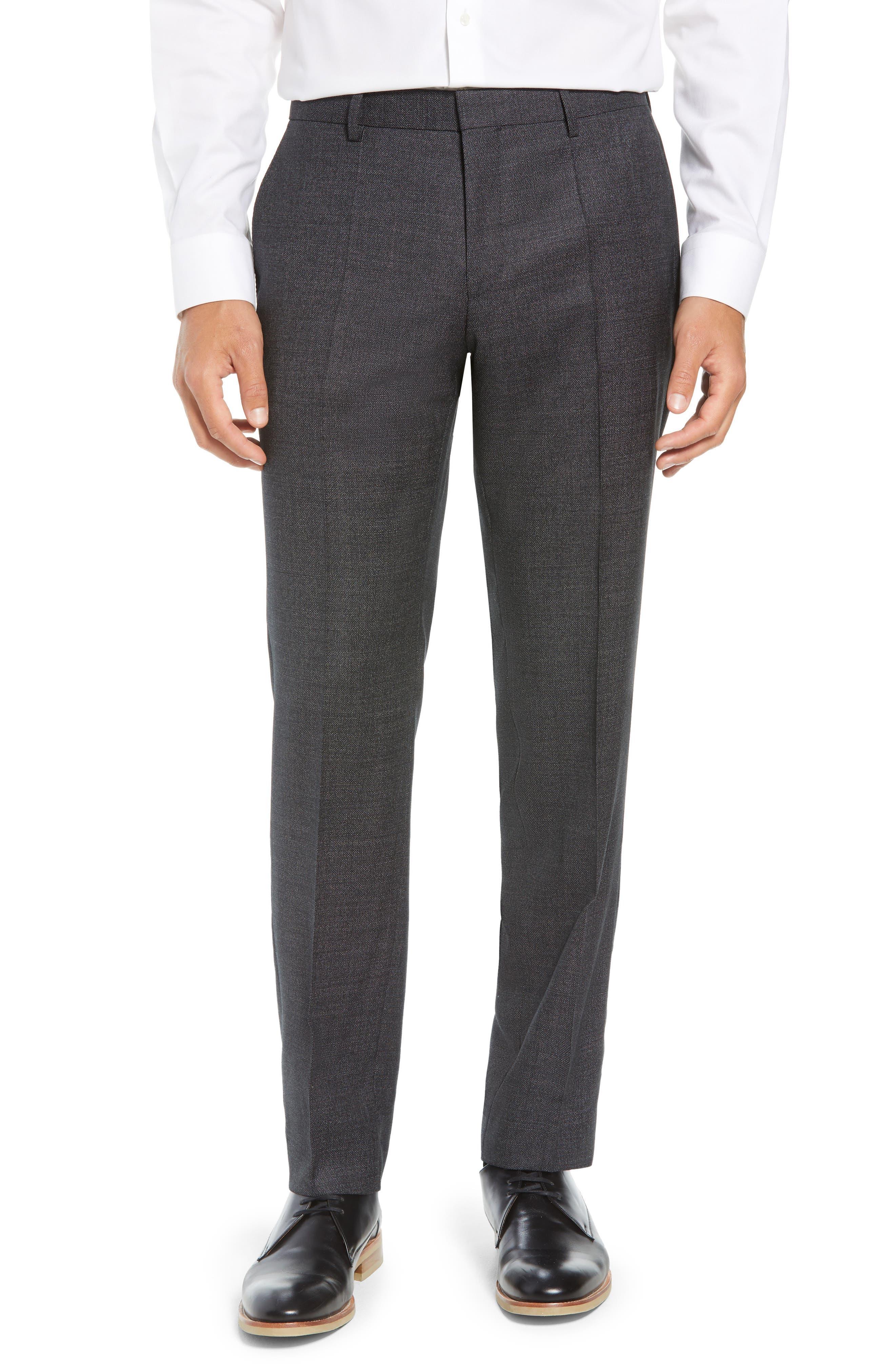 Huge/Genius Trim Fit Solid Wool Suit,                             Alternate thumbnail 6, color,                             BLACK