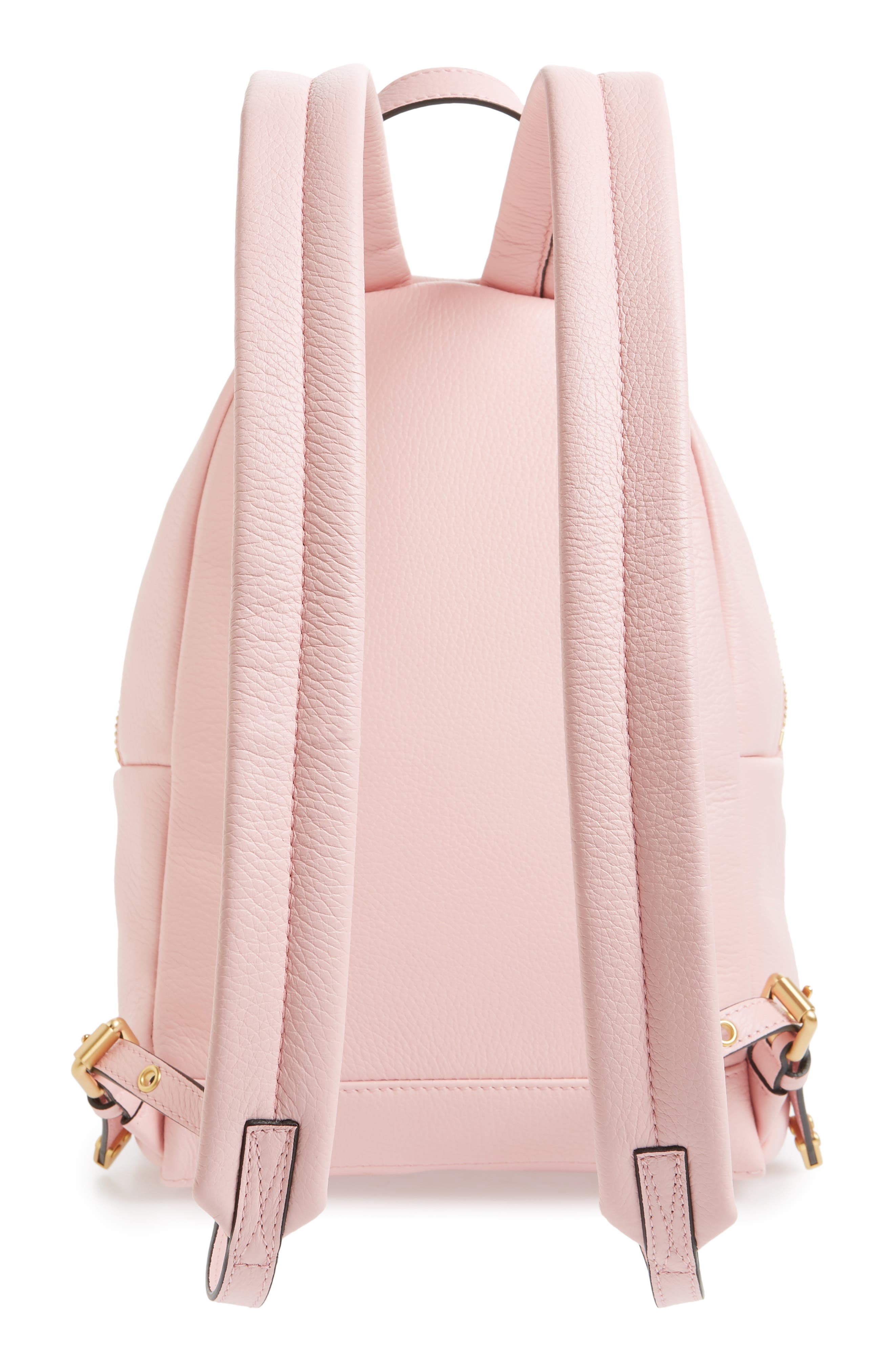 MOSCHINO,                             Logo Leather Backpack,                             Alternate thumbnail 3, color,                             PINK