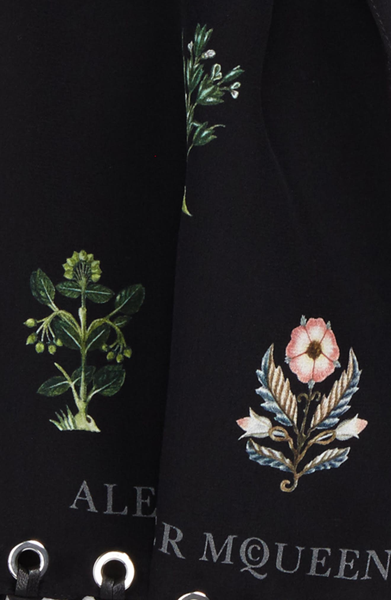 ALEXANDER MCQUEEN,                             Medieval Flower Skinny Silk Scarf,                             Alternate thumbnail 3, color,                             001