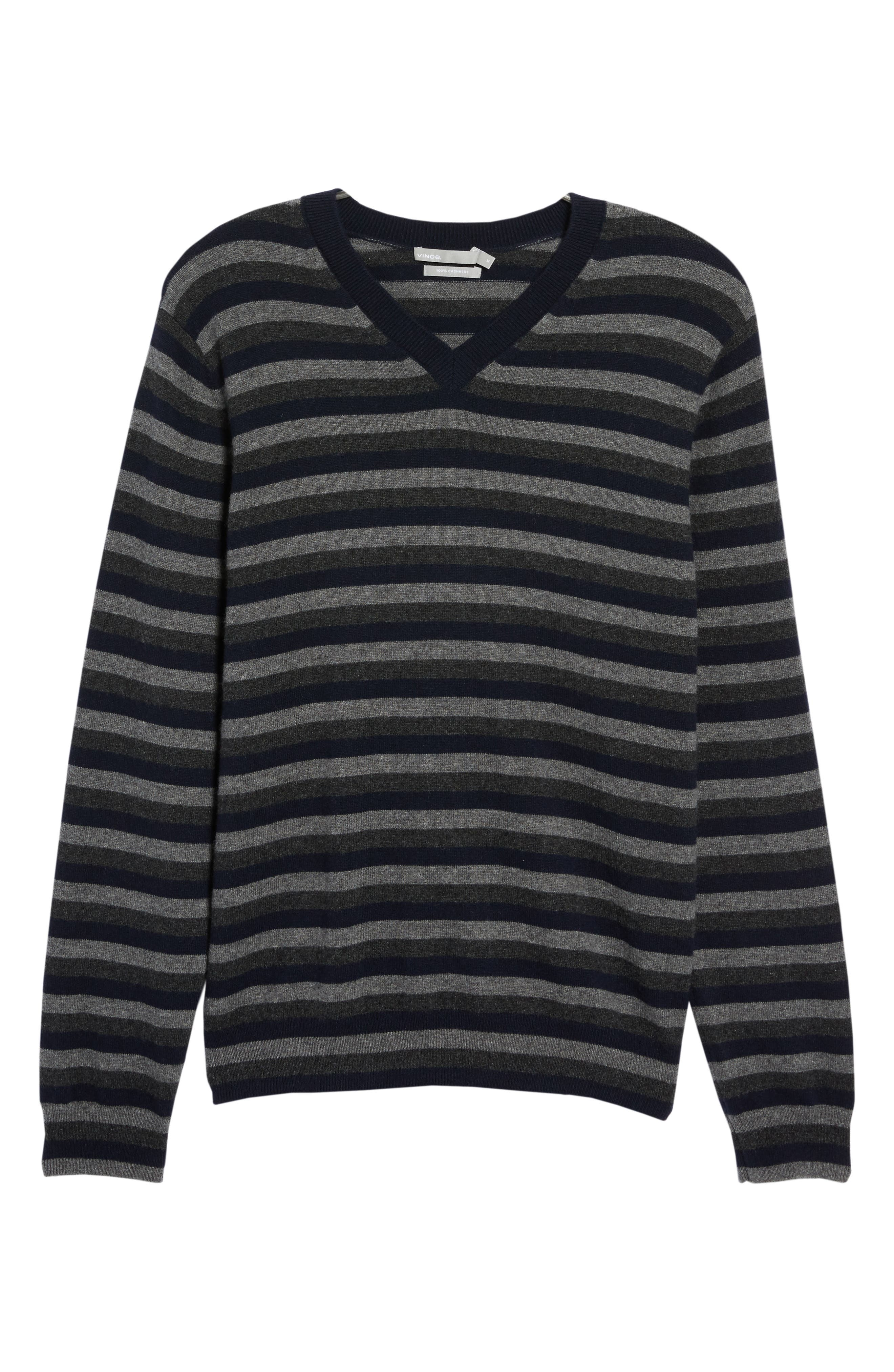 Stripe V-Neck Cashmere Sweater,                             Alternate thumbnail 6, color,                             406