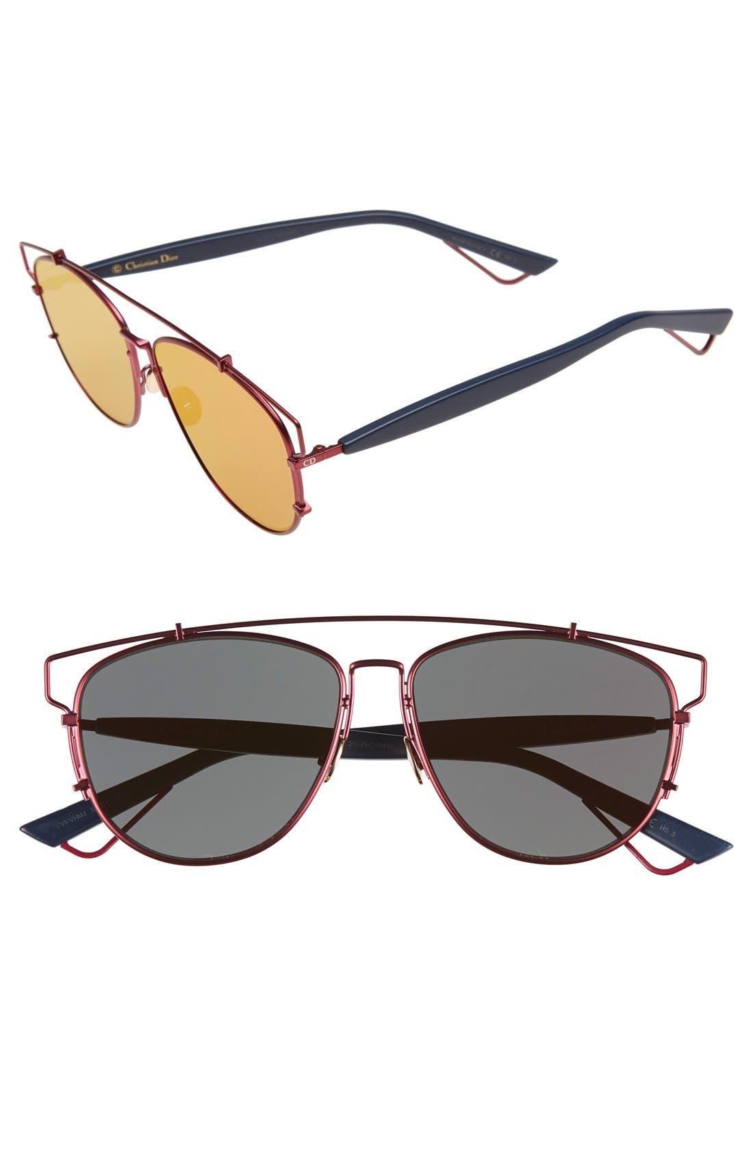Technologic 57mm Brow Bar Sunglasses,                             Main thumbnail 11, color,