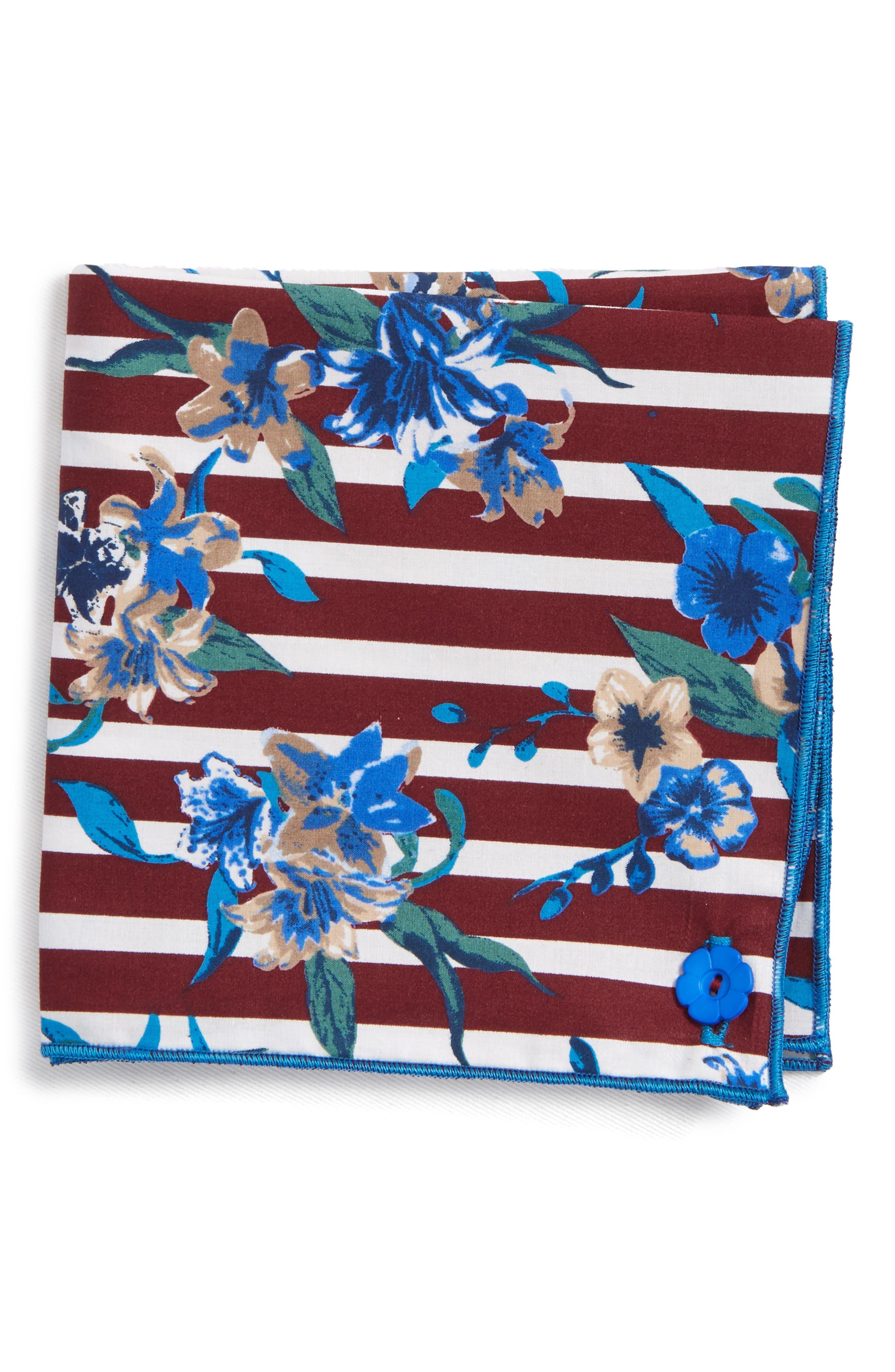 Stripe Flower Cotton Pocket Square,                             Main thumbnail 1, color,                             930