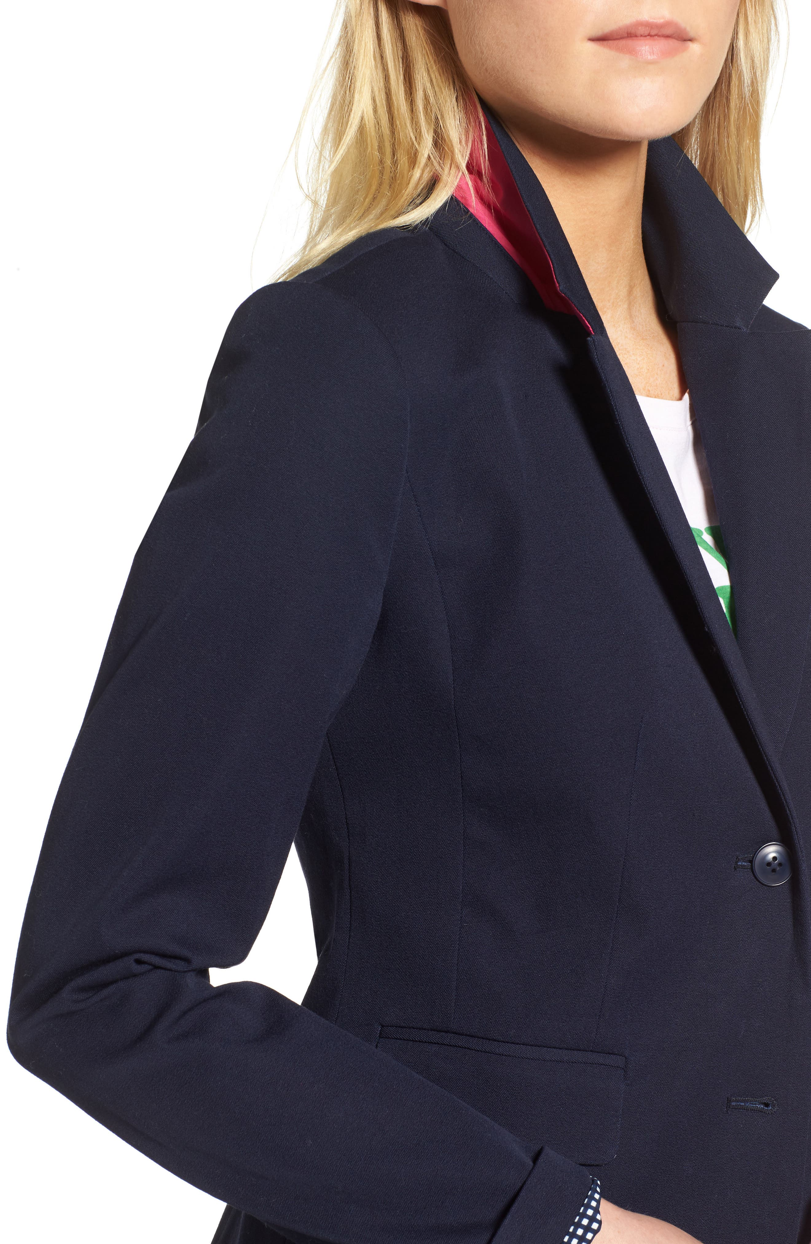 Stretch Cotton Twill Blazer,                             Alternate thumbnail 4, color,                             NAVY NIGHT